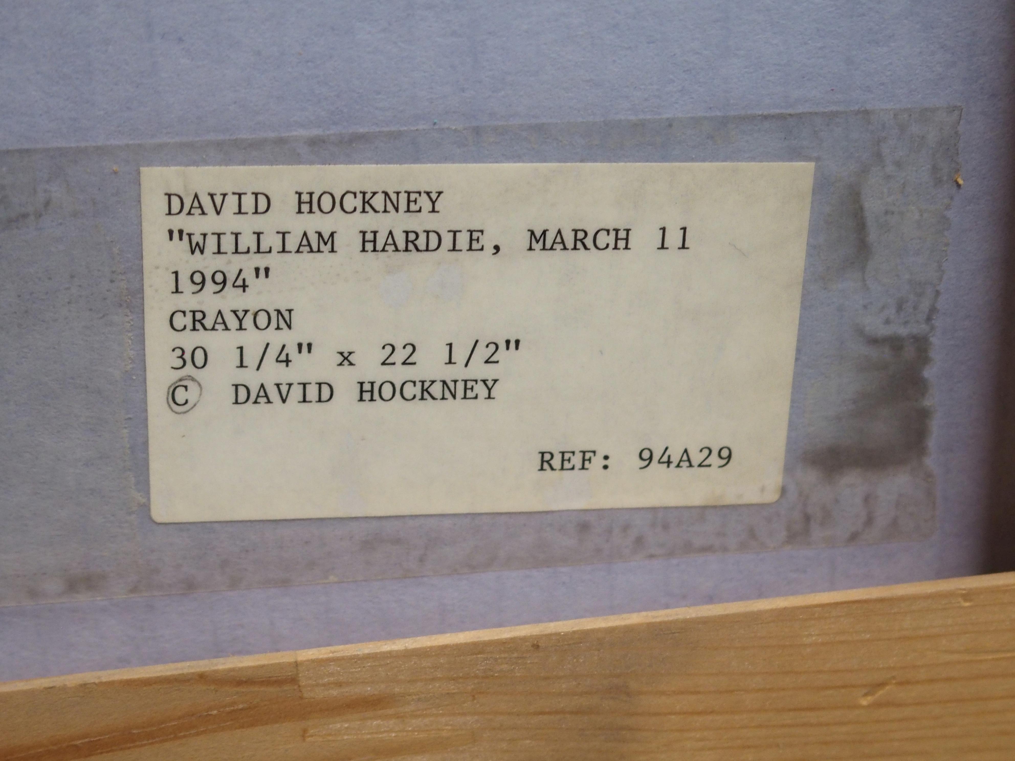 •DAVID HOCKNEY OM, CH, RA (BRITISH b. 1937) WILLIAM HARDIE MARCH 11, 1994 Graphite crayon, signed - Image 5 of 6