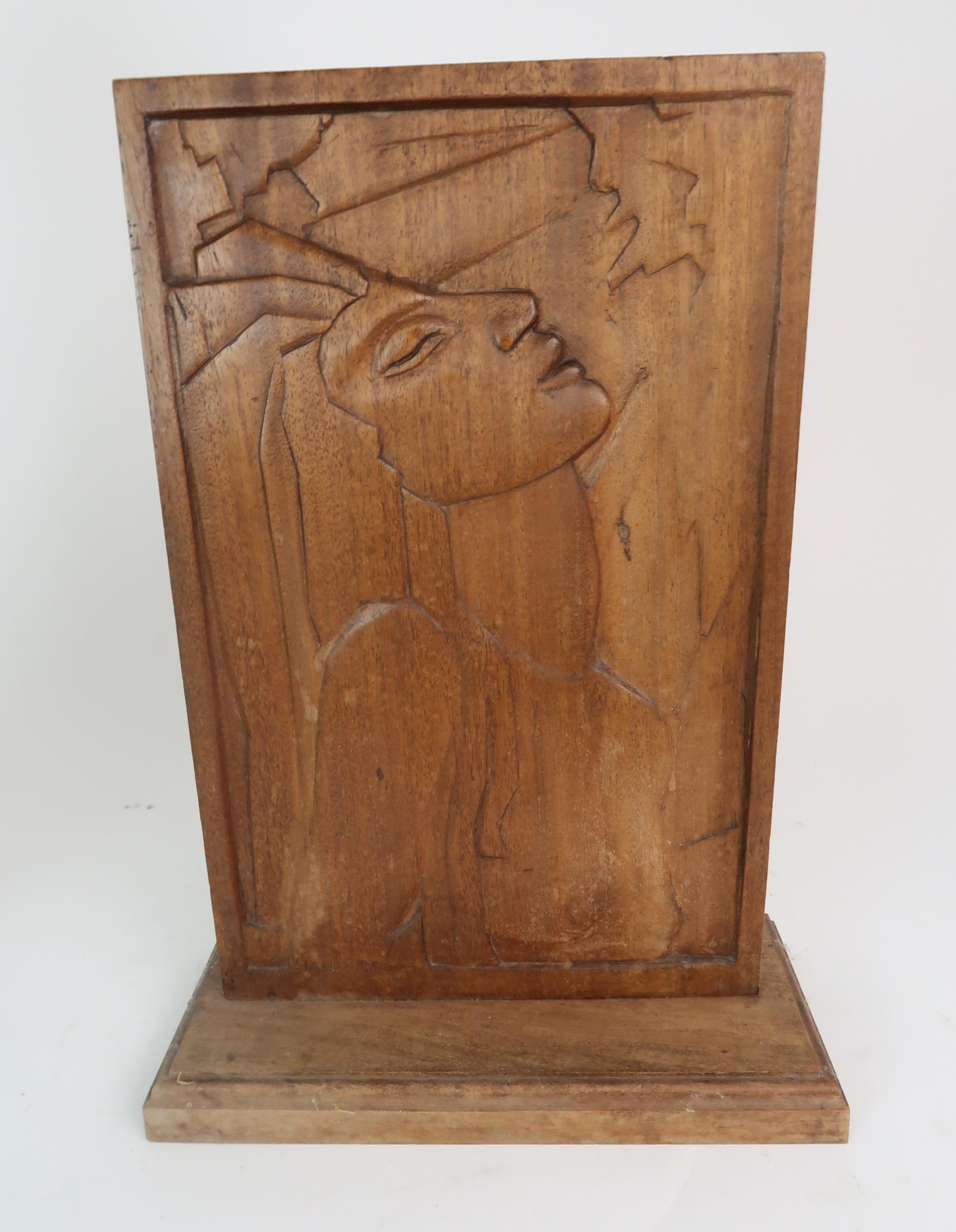•THOMAS SYMINGTON HALLIDAY MBE, FRSA, DA (SCOTTISH 1902-1988) THE DREAM carved wood panel, signed