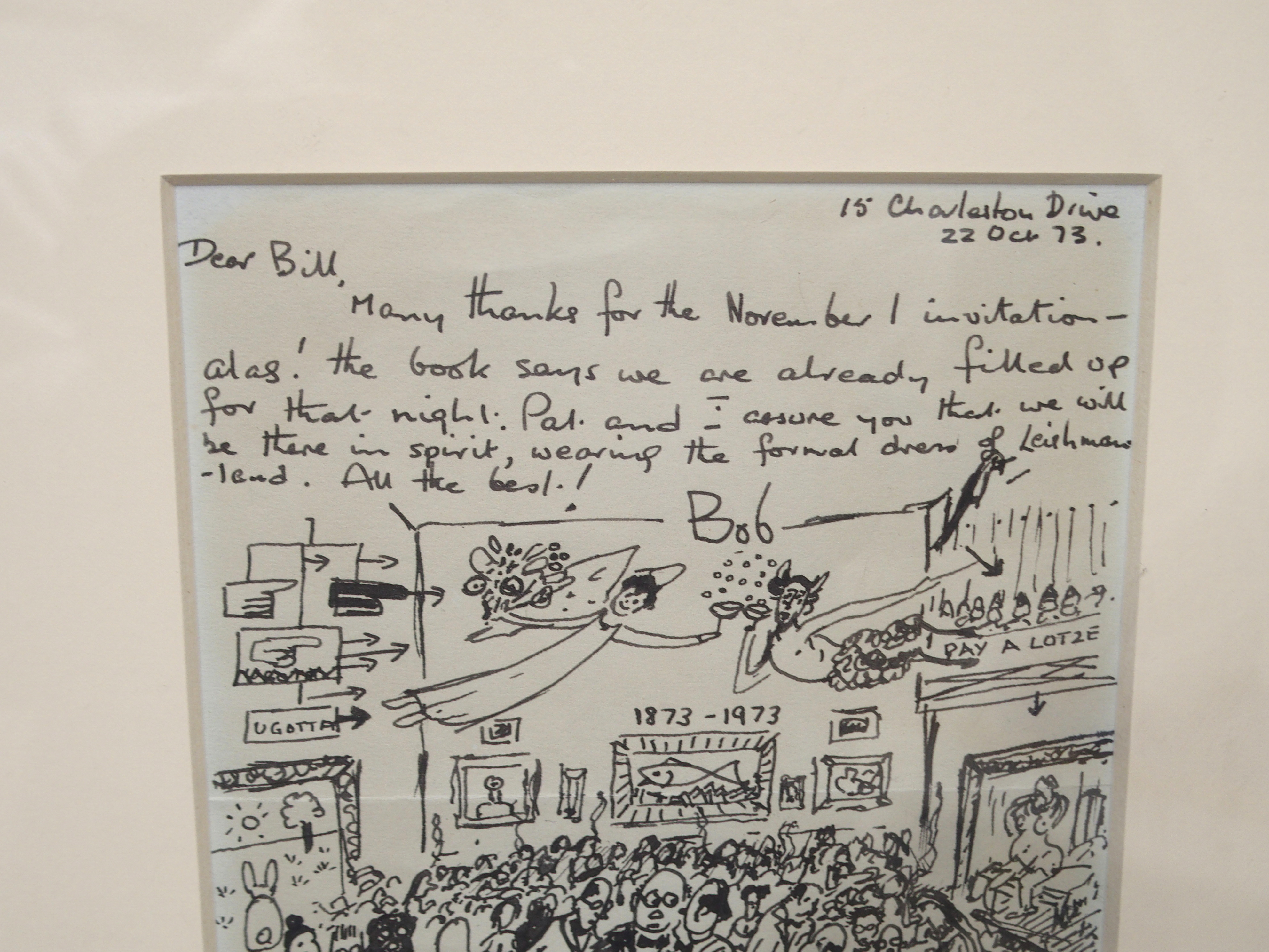 •A COLLECTION TO INCLUDE DRAWINGS, GREETINGS CARDS AND A BOOK ROBERT LEISHMAN 'Bob', inscribed, - Image 2 of 11
