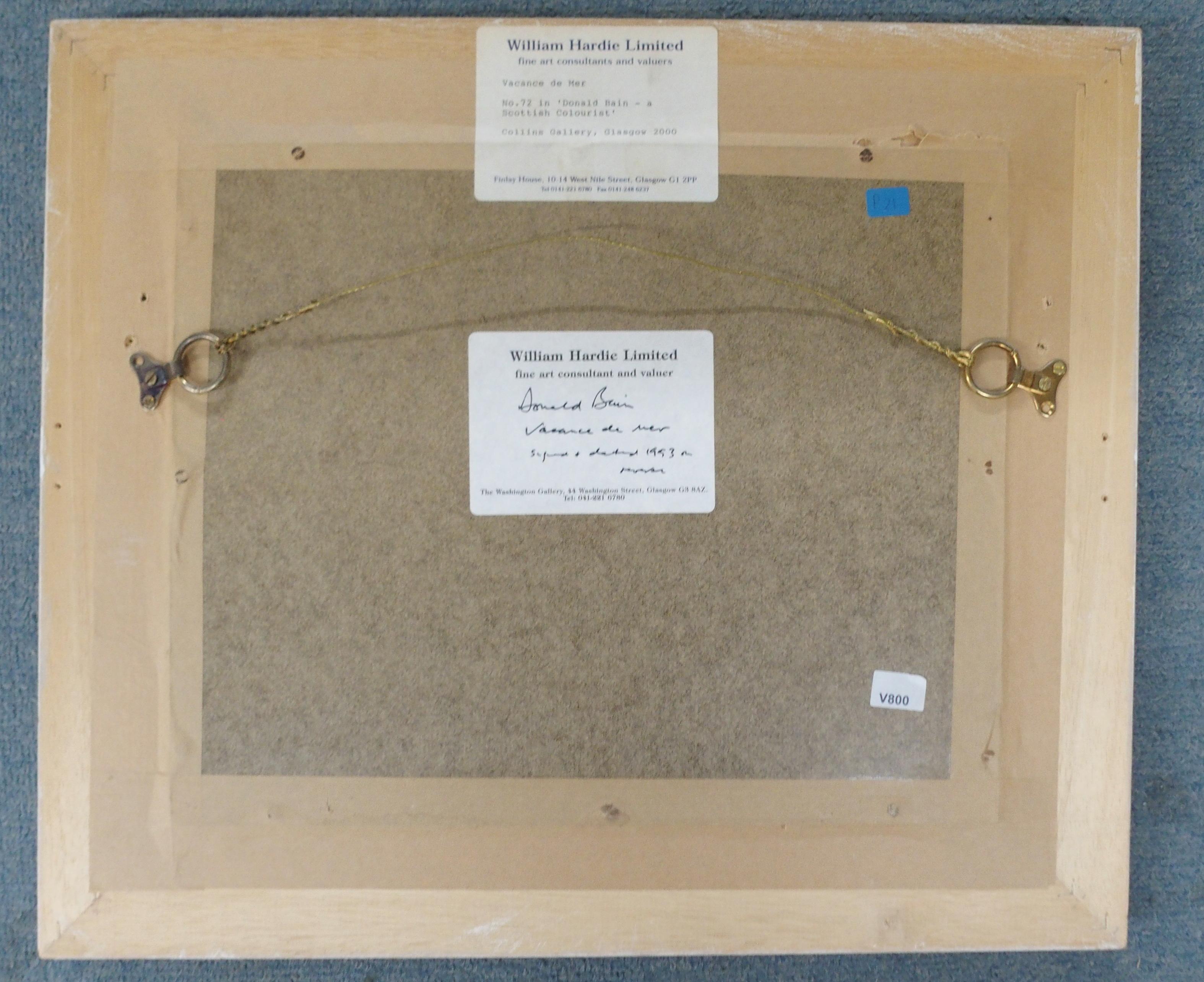 •DONALD BAIN (SCOTTISH 1904-1979) VACANCE DE MER oil on board, signed, 24 x 31cm William Hardie - Image 6 of 6