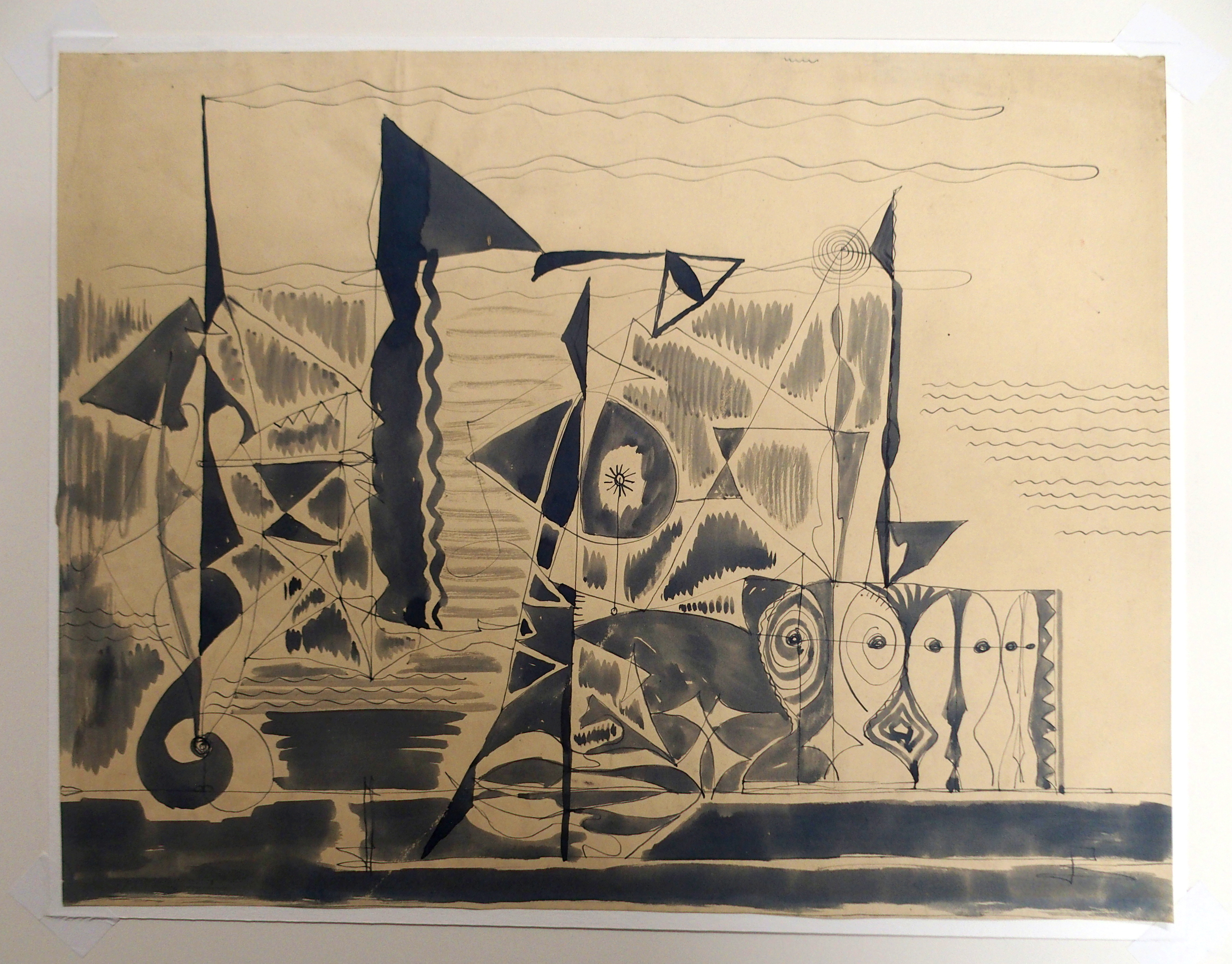 •CHARLES PULSFORD ARSA (SCOTTISH 1912-1989) ABSTRACT DRAWING Ink and watercolour, unframed, 37 x