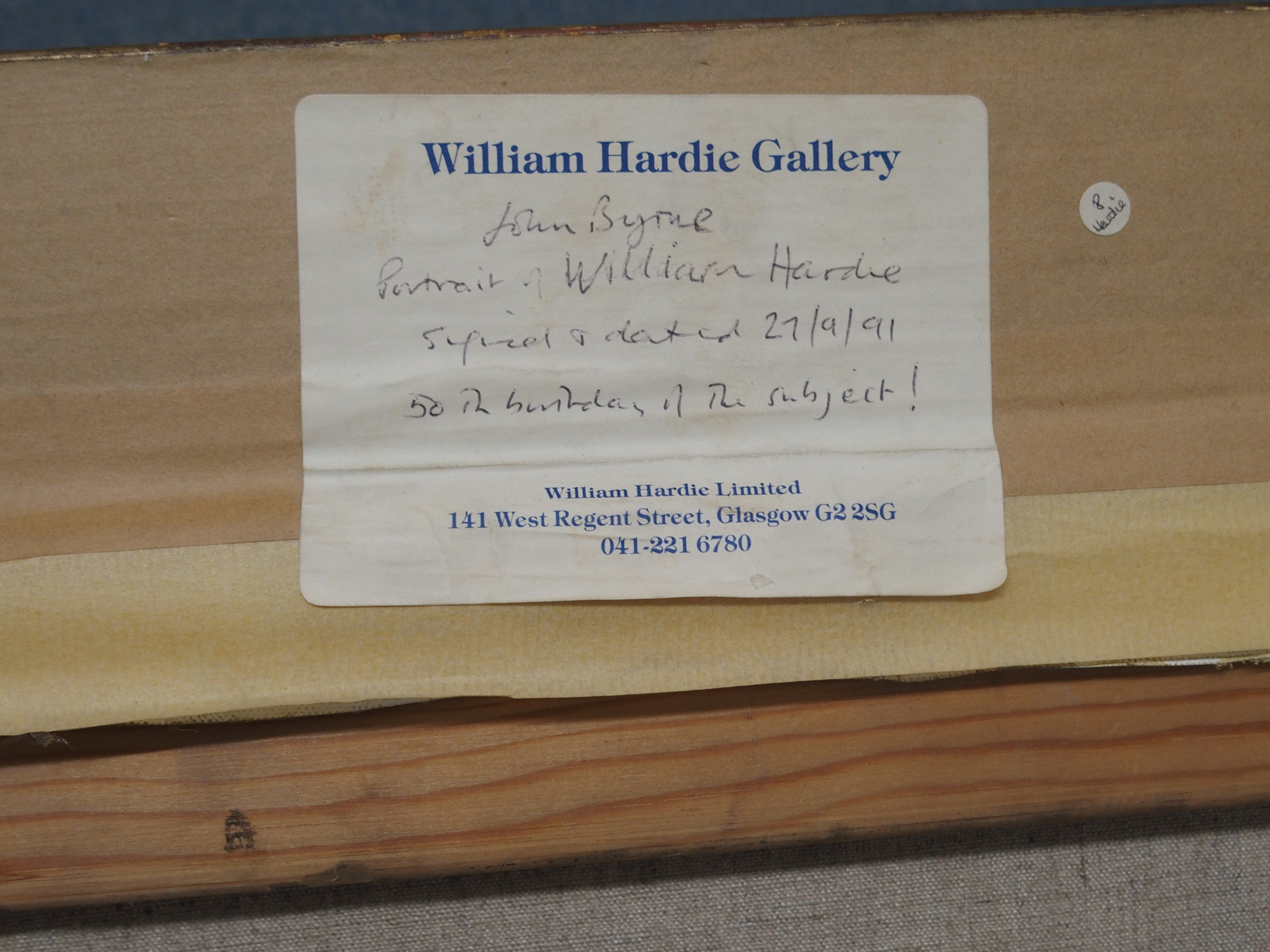 •JOHN BYRNE RSA (SCOTTISH B.1940) PORTRAIT OF WILLIAM HARDIE oil on canvas, signed and dated 27.9. - Image 5 of 5
