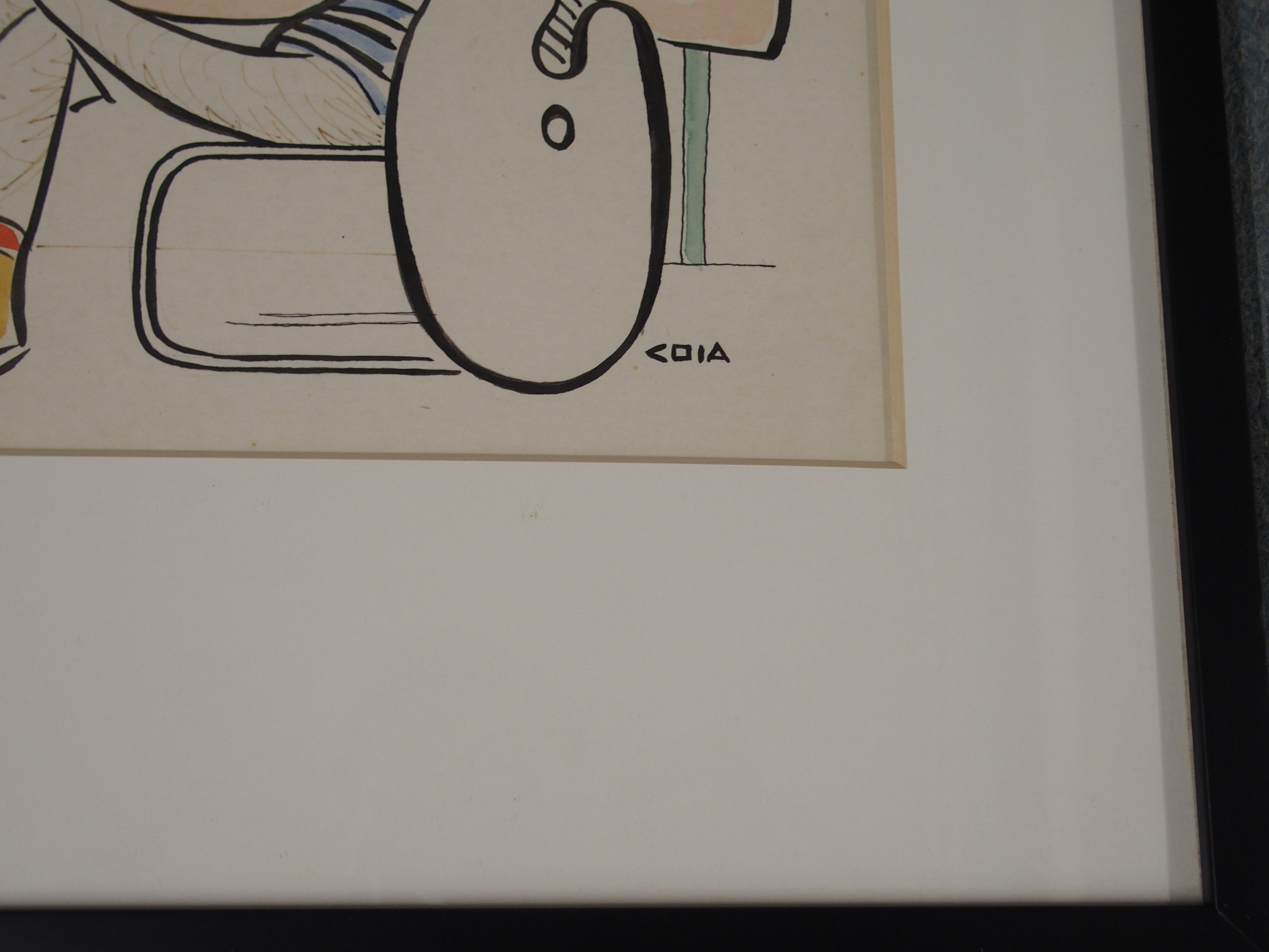 •EMILIO COIA FRSE, LLD (SCOTTISH 1911-1997) PORTRAIT OF DAVID HOCKNEY ink and watercolour, signed, - Image 3 of 5