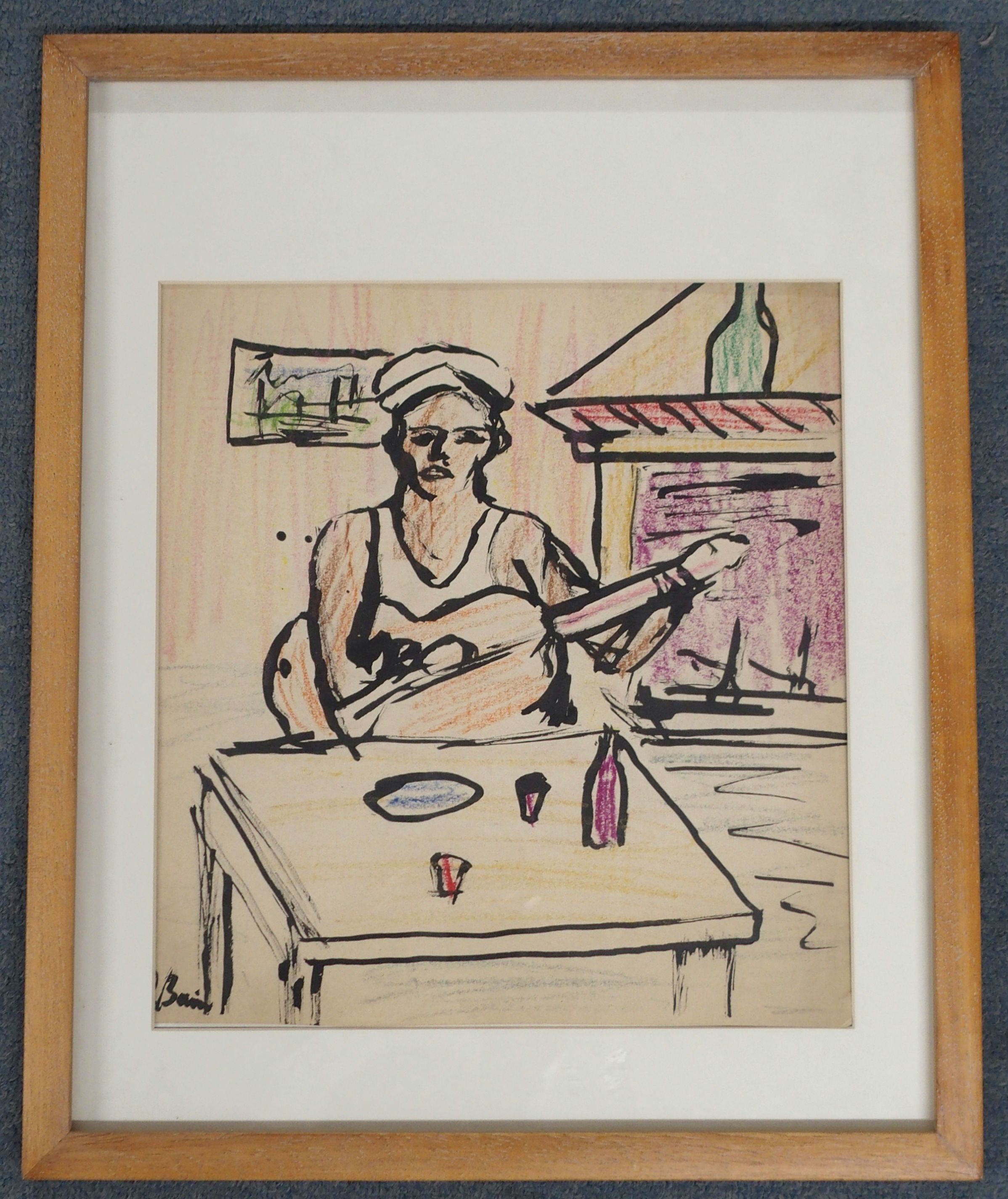•DONALD BAIN (SCOTTISH 1904-1979) SAILOR WITH GUITAR Ink and coloured wax crayon, signed, 33 x - Image 2 of 4