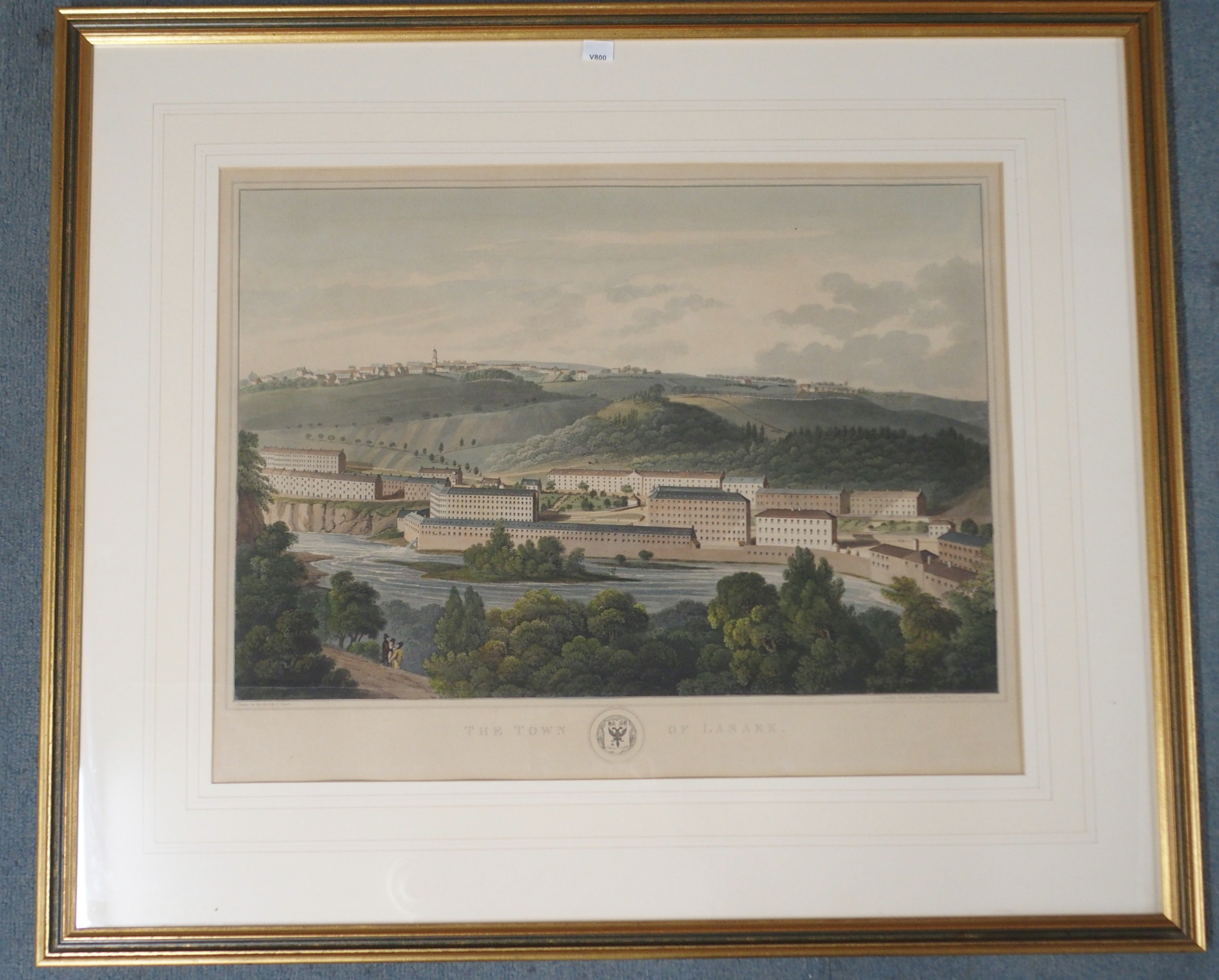 AFTER CLARK THE TOWN OF LANARK aquatint, 46 x 59cm, A View of New Lanark from the South, 14 x - Image 2 of 6