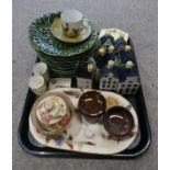 A DEVONWARE MOTTO BOWL Bols decanters for KLM, green glazed cabbage ware plates etc Condition