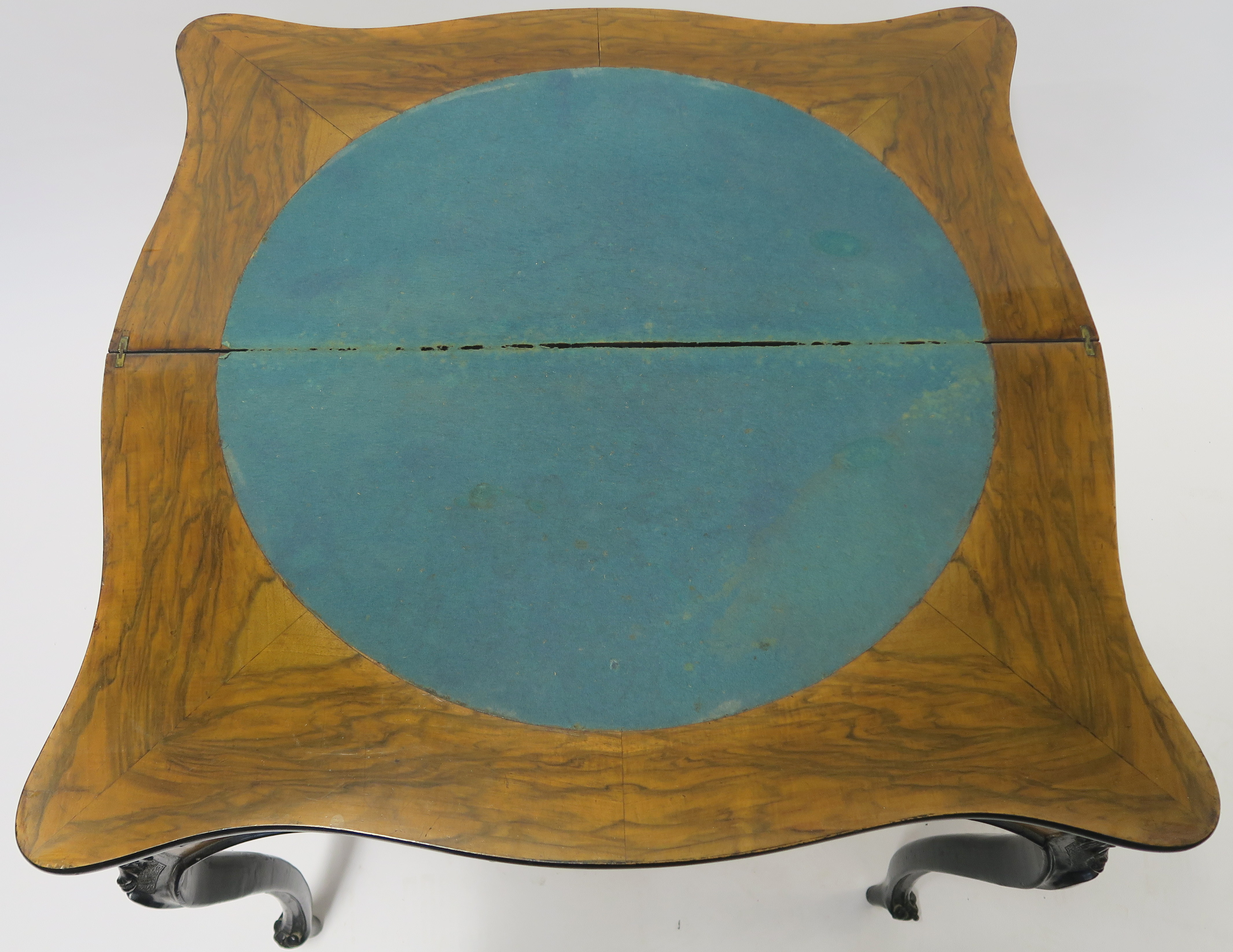 A CONTINENTAL WALNUT AND EBONISED FOLD OVER CARD TABLE, 78cm high, 82cm wide and 40cm deep Condition - Image 6 of 7