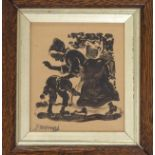 JAMES WATTERSTON HERALD (SCOTTISH 1859-1914) A NAUGHTY BOY Pen and ink drawing, signed, 15 x 13cm