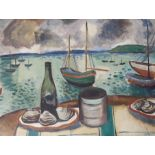 •JOHN MCNAIRN (SCOTTISH 1910-2009) OYSTERS AND CHAMPAGNE Oil on canvas, signed, 64 x 84cm