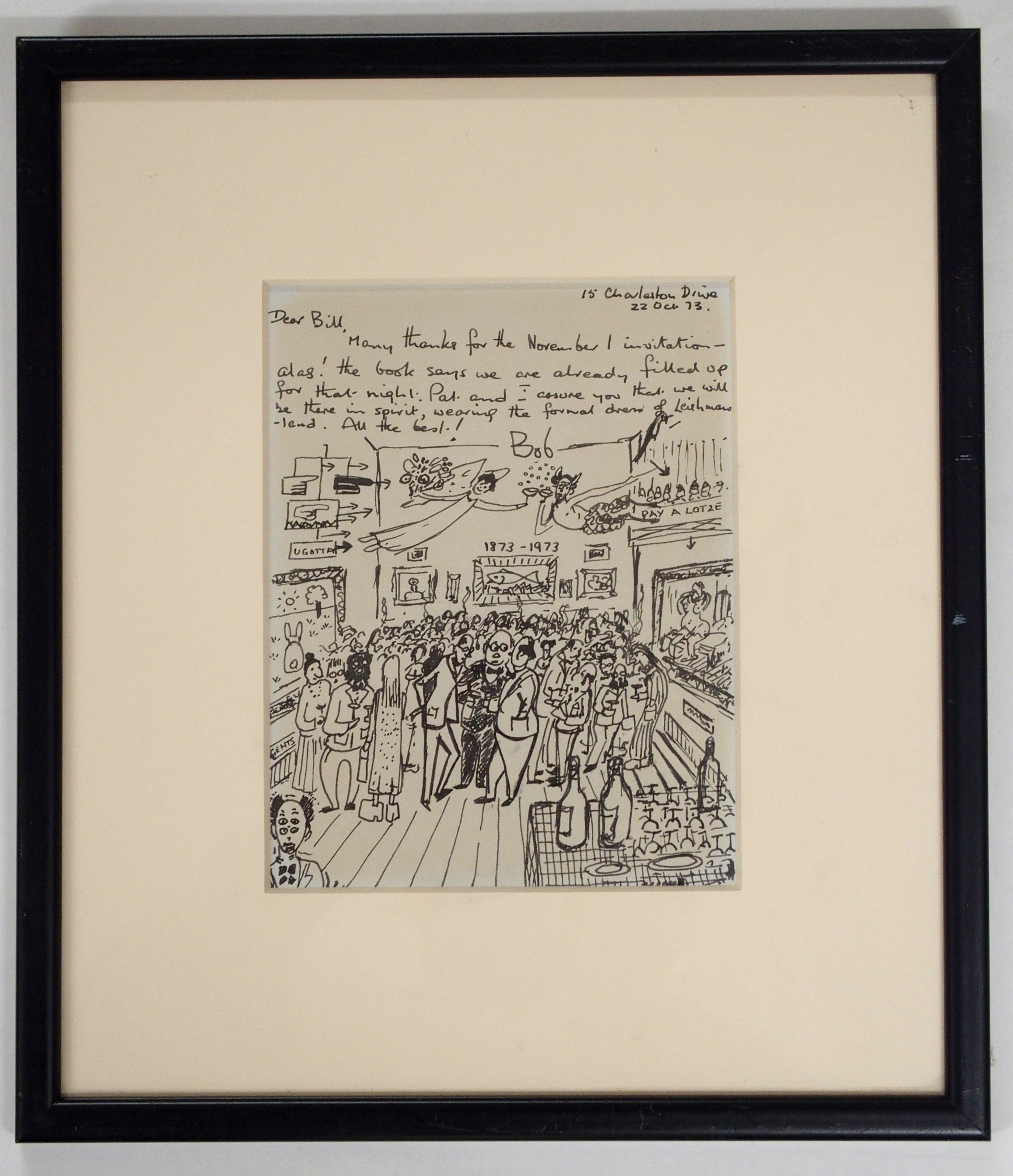 •A COLLECTION TO INCLUDE DRAWINGS, GREETINGS CARDS AND A BOOK ROBERT LEISHMAN 'Bob', inscribed,