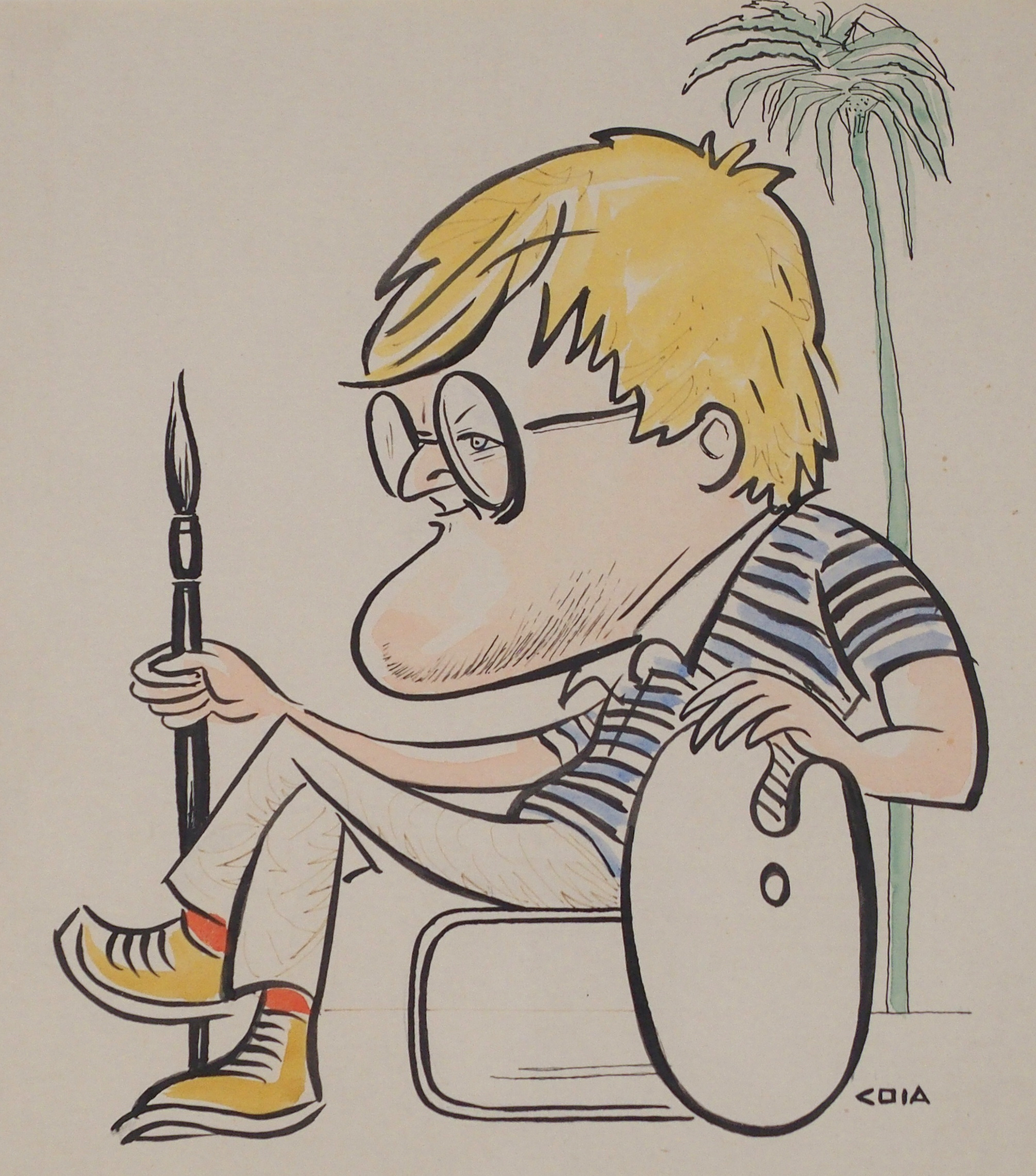 •EMILIO COIA FRSE, LLD (SCOTTISH 1911-1997) PORTRAIT OF DAVID HOCKNEY ink and watercolour, signed,