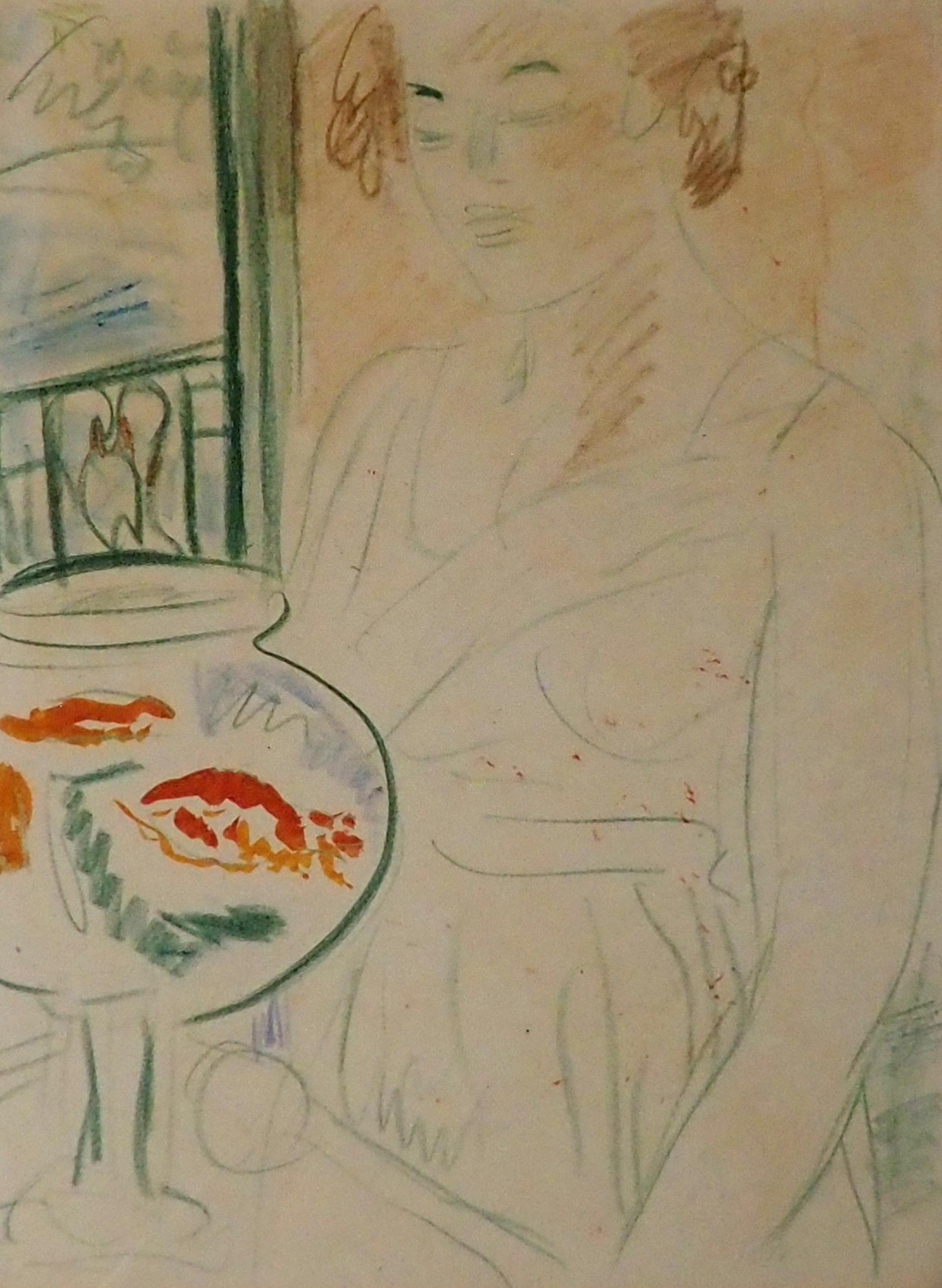 GEORGE LESLIE HUNTER (SCOTTISH 1877-1931) THE GOLDFISH BOWL colour crayon, 58 x 43cm William