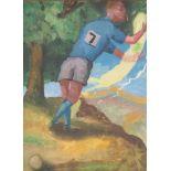 •STEVEN CAMPBELL (SCOTTISH 1953-2007) SPORTSMAN AND SPIRIT Gouache, 28.5 x 20cm Condition Report:
