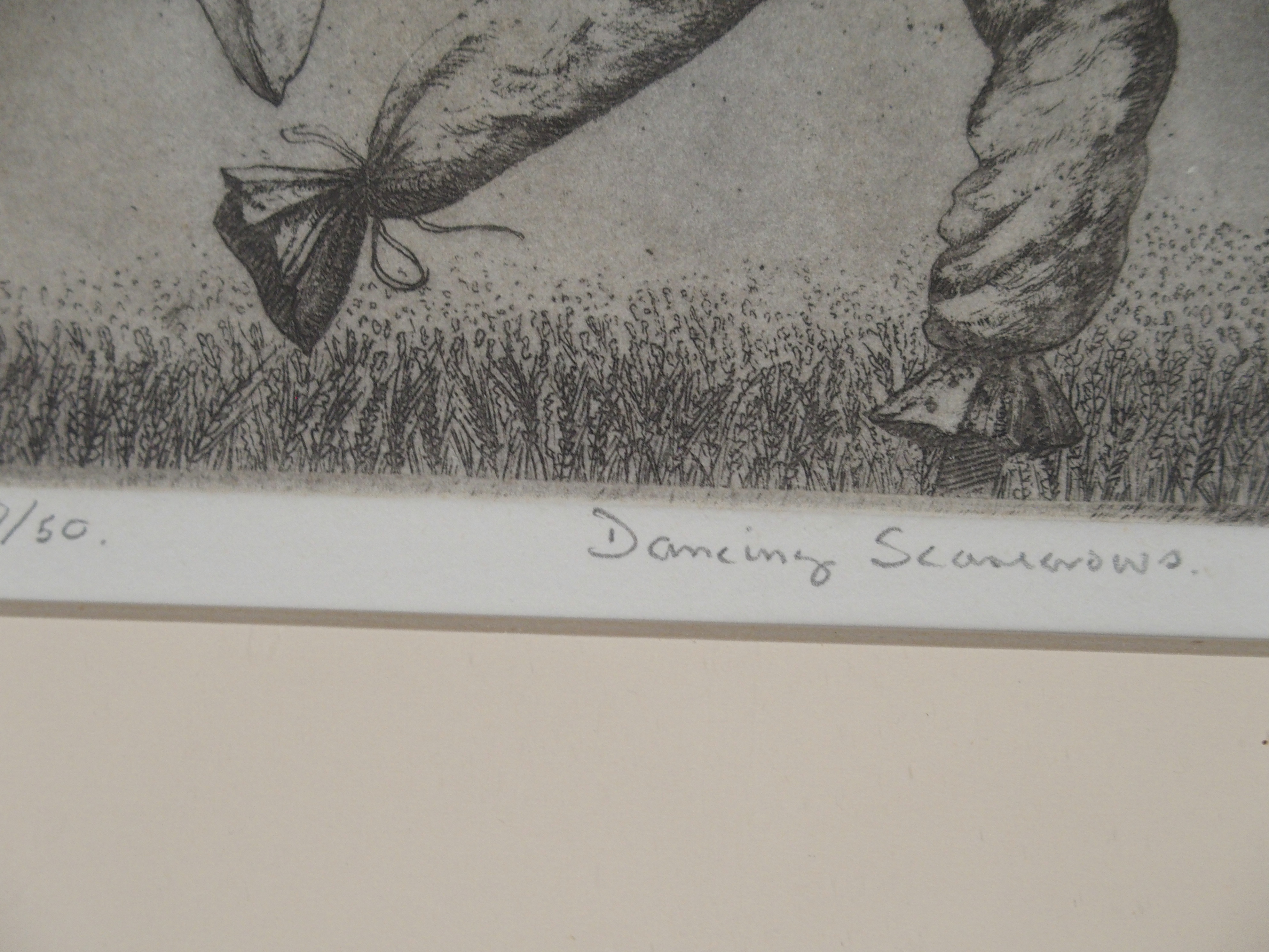 •DUNCAN MACKENZIE (SCOTTISH CONTEMPORARY) DANCING SCARECROWS etching, signed, inscribed and - Image 5 of 7