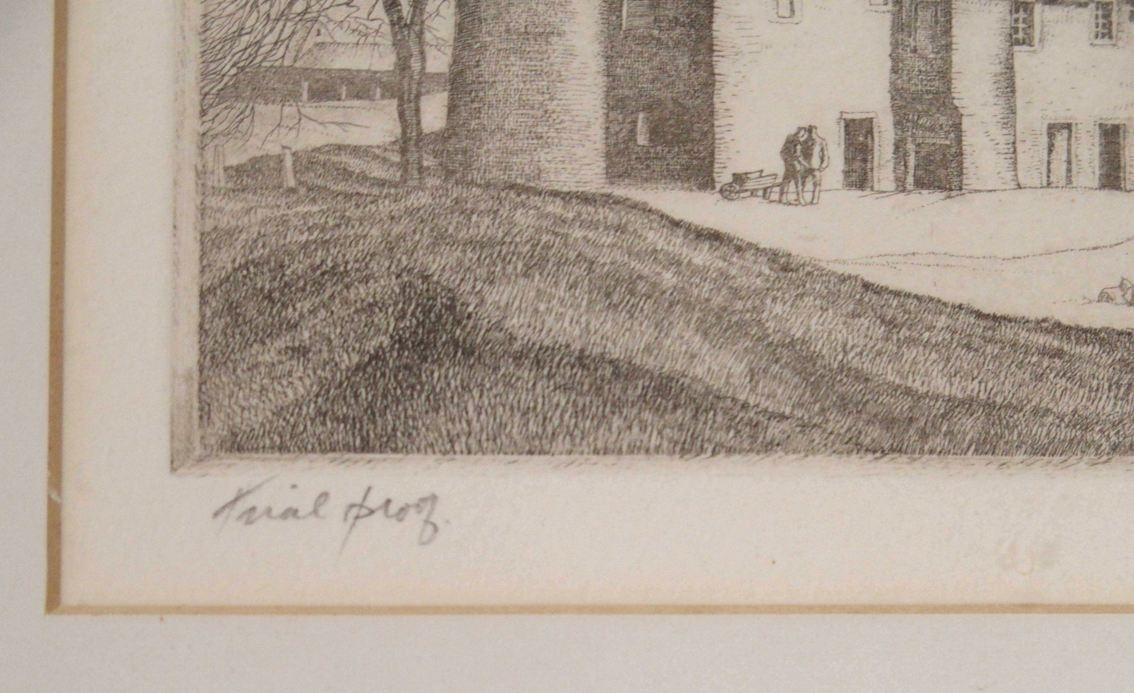•JAMES MCINTOSH PATRICK OBE, RSA (SCOTTISH 1907-1998) FIGURES BEFORE COUNTRY HOUSE etching, - Image 4 of 4