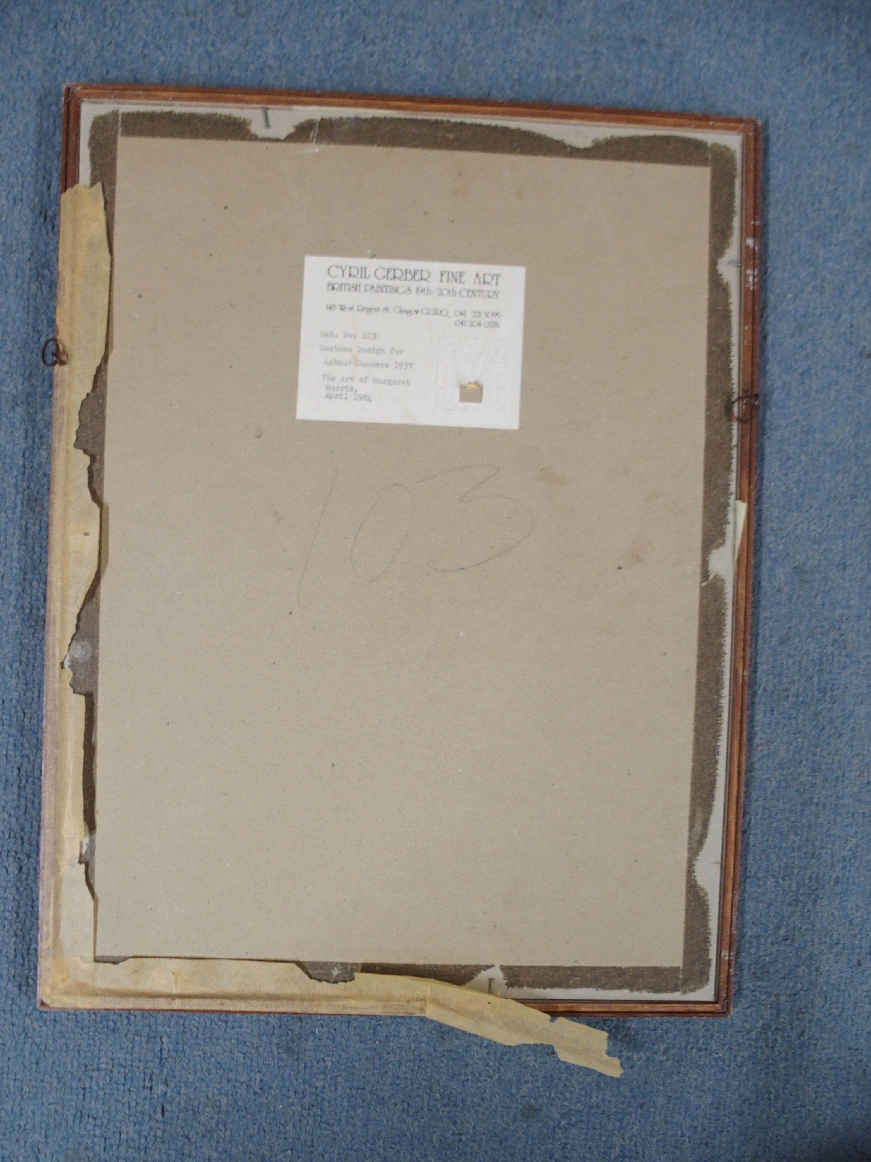 •MARGARET MORRIS (SCOTTISH 1891-1980) COSTUME DESIGN FOR ASHNUR DANCERS 1937 charcoal, 22 x 12cm - Image 4 of 4