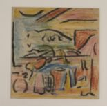 •DONALD BAIN (SCOTTISH 1904-1979) ABSTRACT LANDSCAPE coloured wax crayon and ink, 16 x 15cm