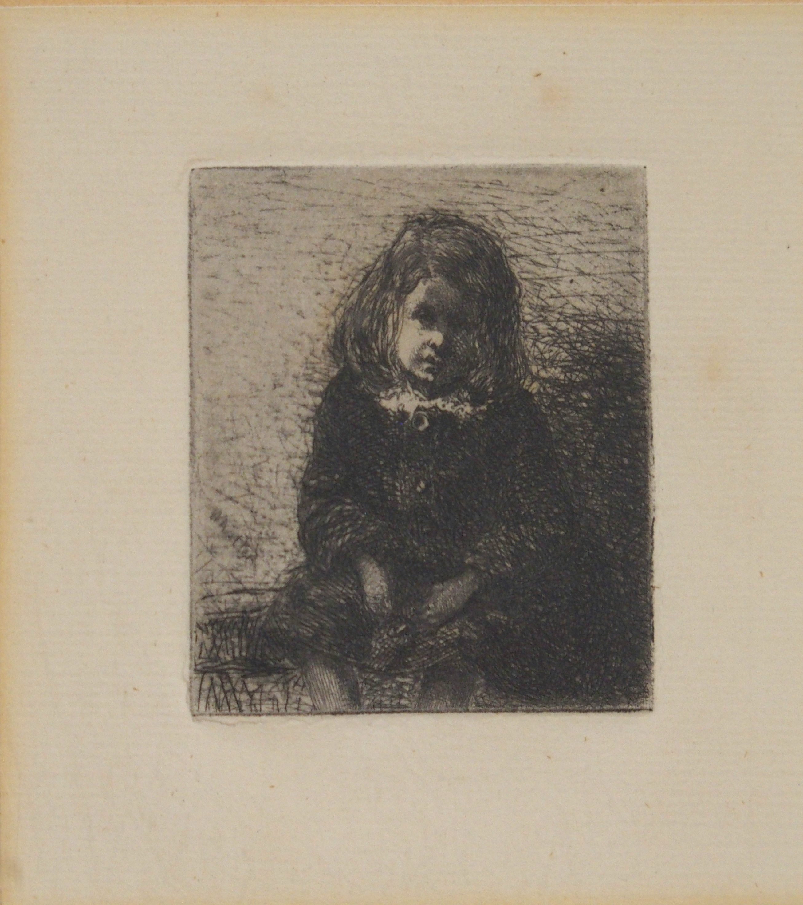 JAMES ABBOTT MCNEILL WHISTLER RBA (AMERICAN 1834-1903) GIRL SEATED etching, 6 x 5cm Condition