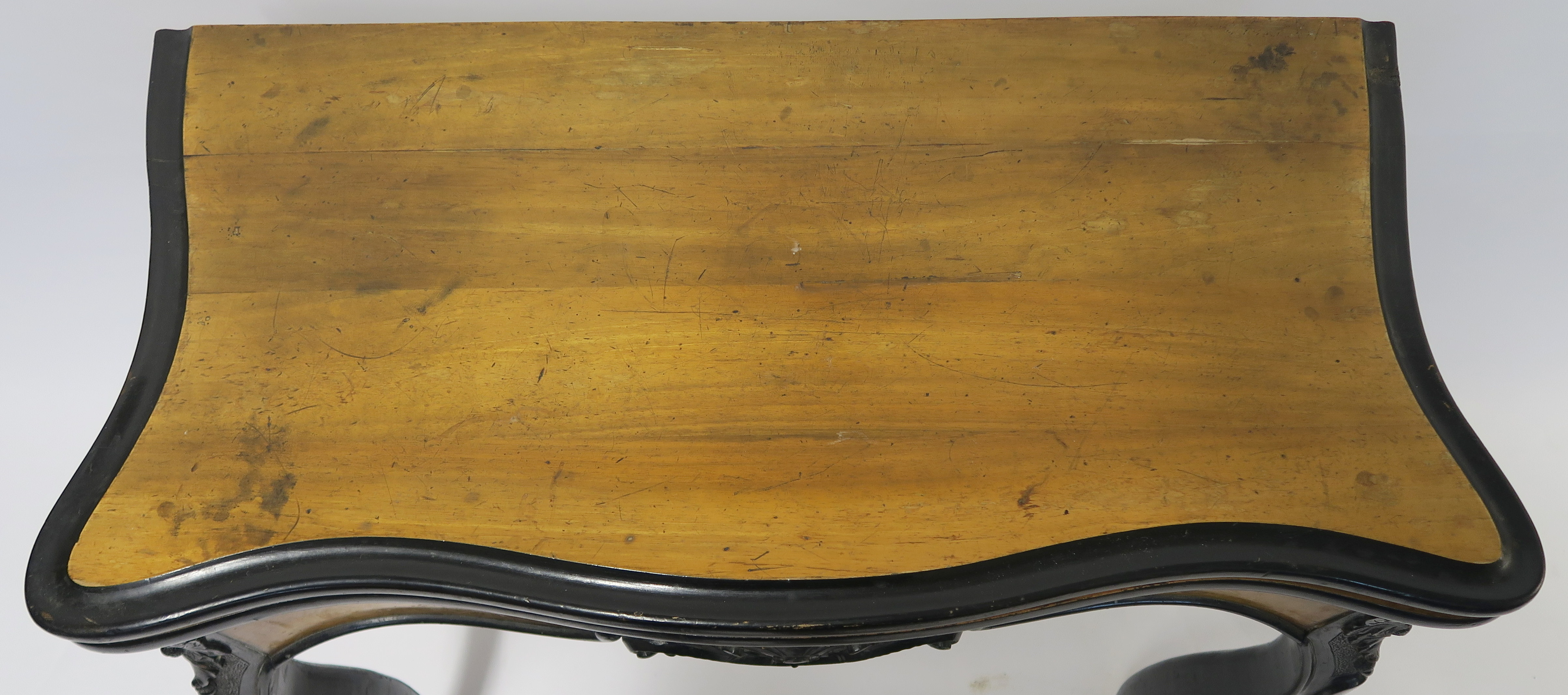 A CONTINENTAL WALNUT AND EBONISED FOLD OVER CARD TABLE, 78cm high, 82cm wide and 40cm deep Condition - Image 2 of 7