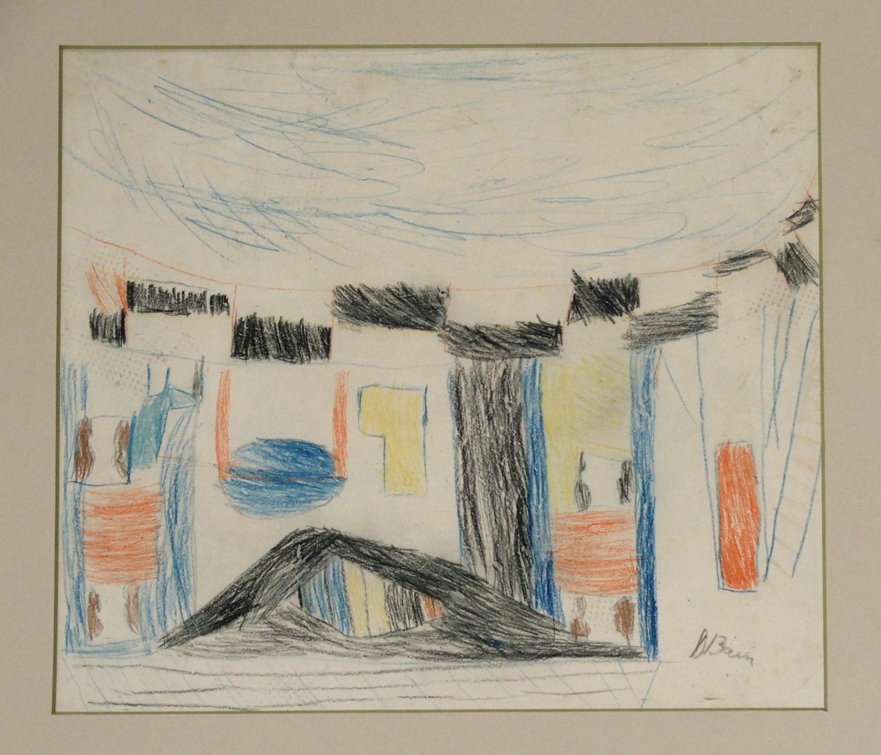 •DONALD BAIN (SCOTTISH 1904-1979) UNTITLED SKETCH crayon, signed, 25 x 29cm Condition Report: