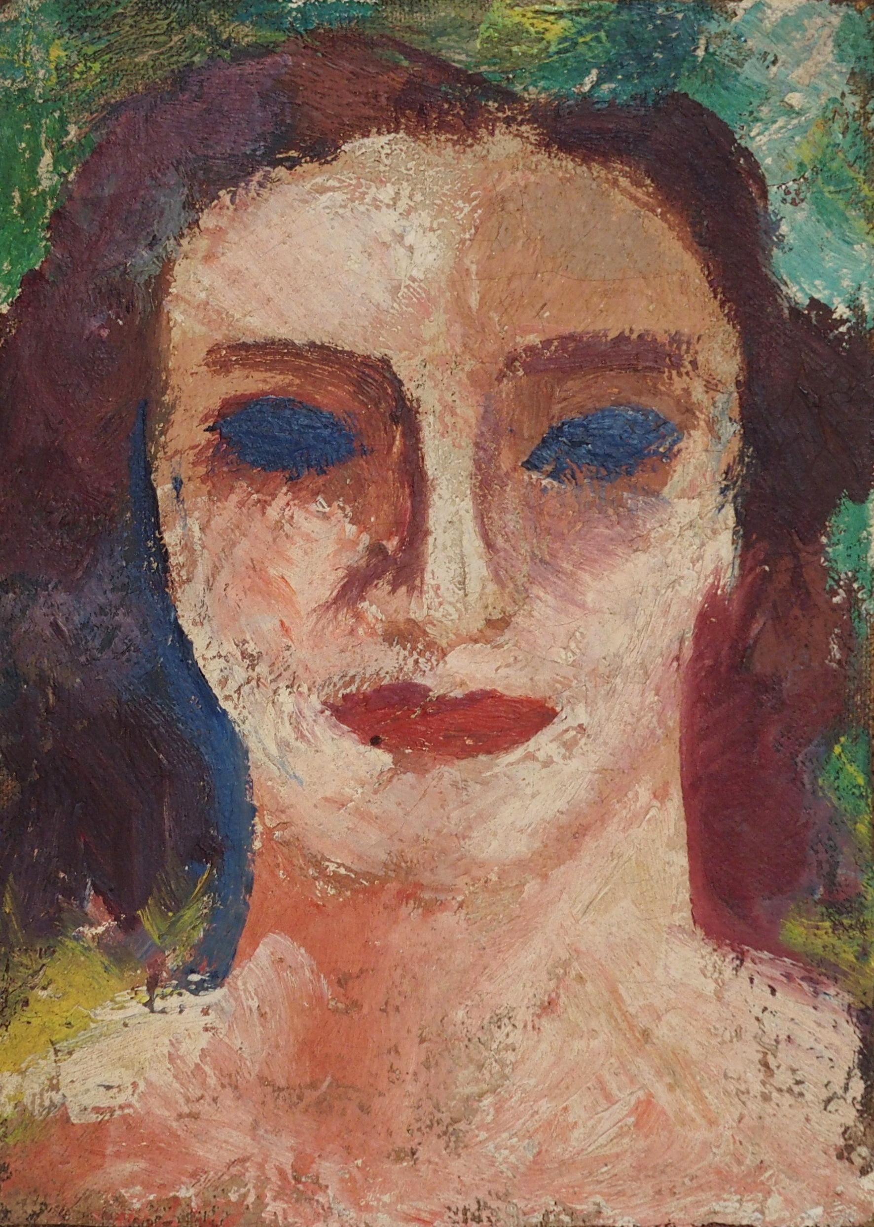 •DONALD BAIN (SCOTTISH 1904-1979) HEAD STUDY oil on canvas laid on panel board, 19.5 x 14cm signed