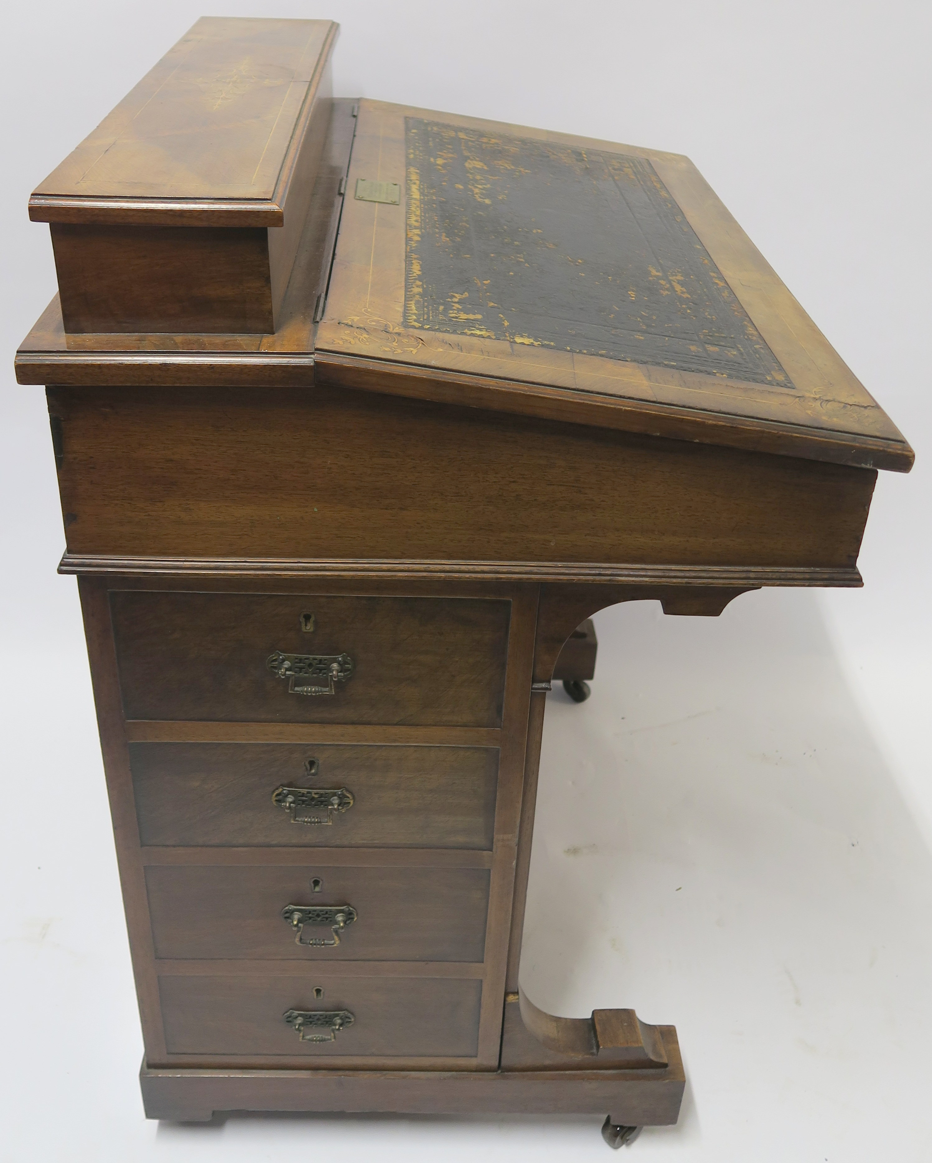 A VICTORIAN INLAID WALNUT DAVENPORT of standard design with four drawers 95cm high, 75cm wide and - Image 6 of 9