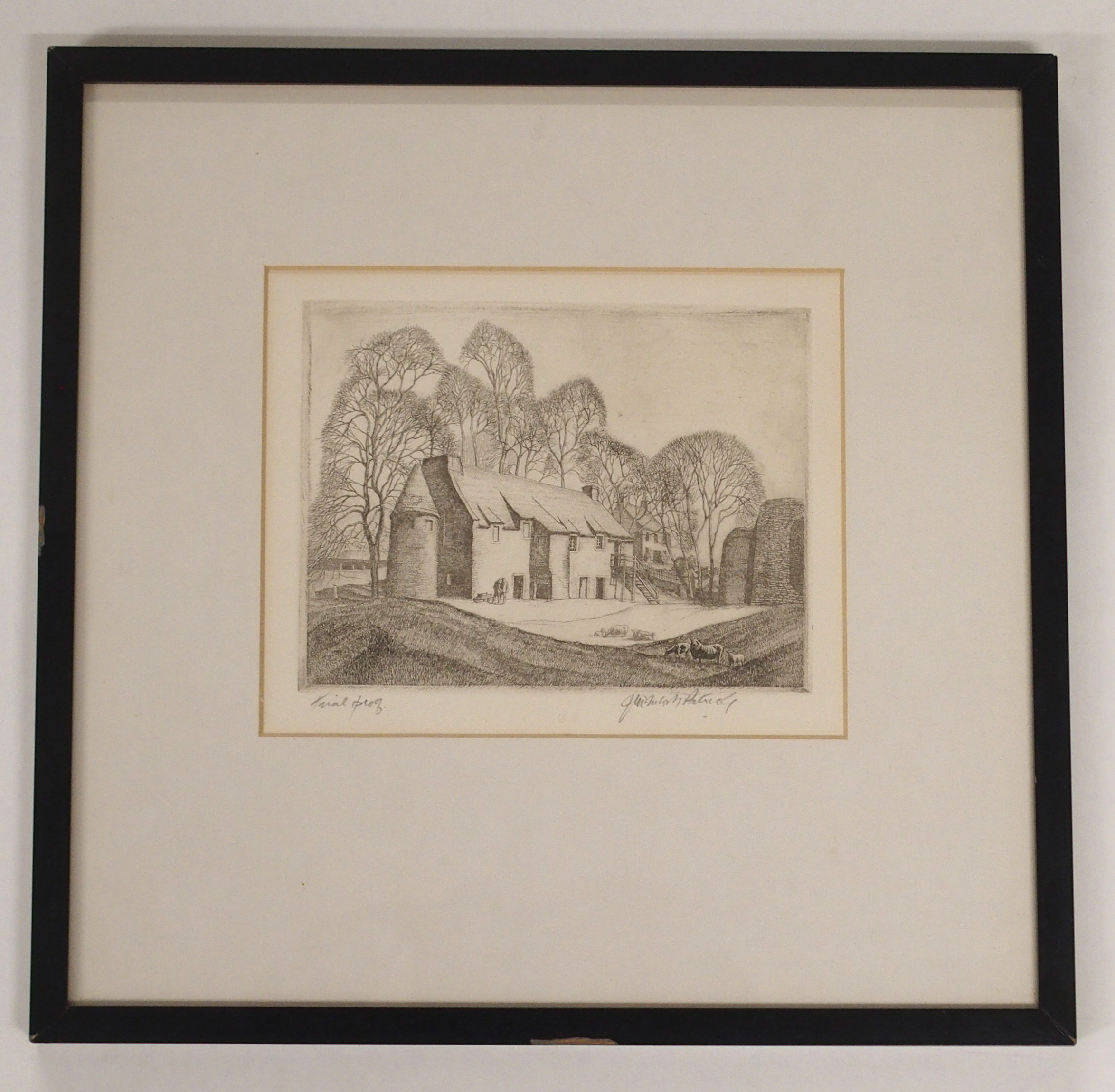 •JAMES MCINTOSH PATRICK OBE, RSA (SCOTTISH 1907-1998) FIGURES BEFORE COUNTRY HOUSE etching, - Image 2 of 4