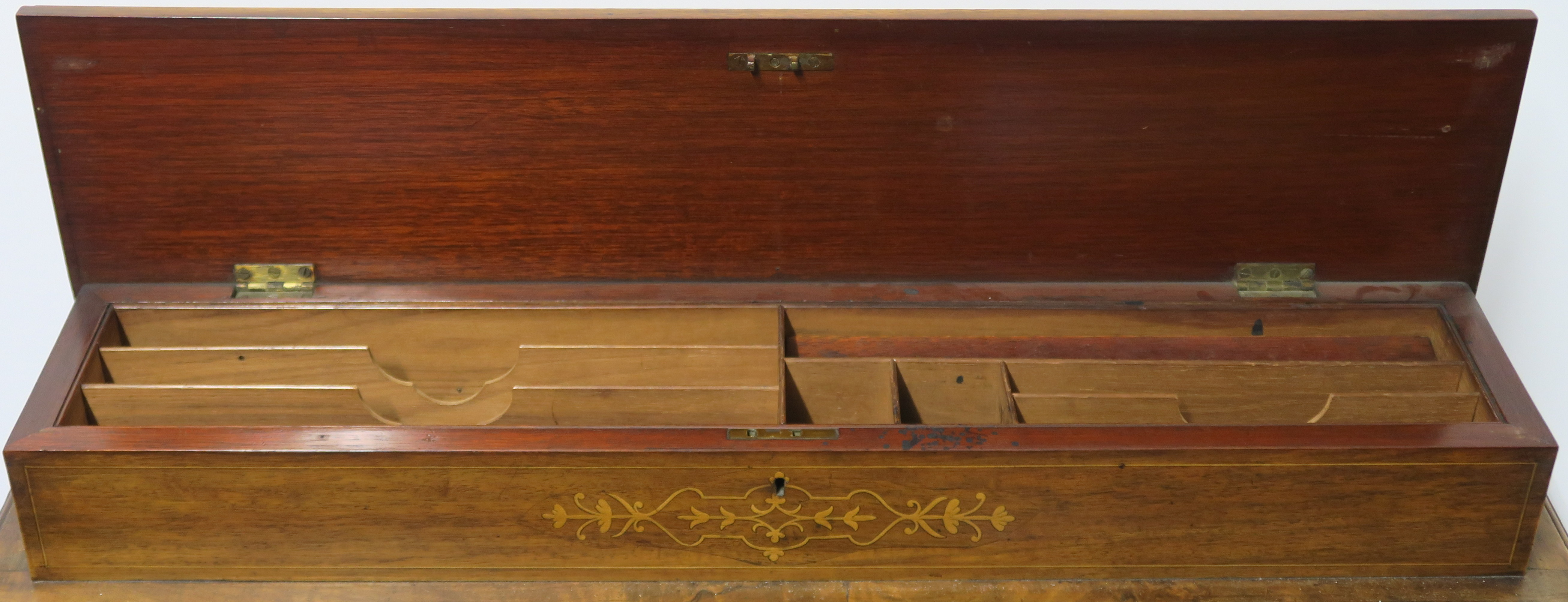 A VICTORIAN INLAID WALNUT DAVENPORT of standard design with four drawers 95cm high, 75cm wide and - Image 3 of 9