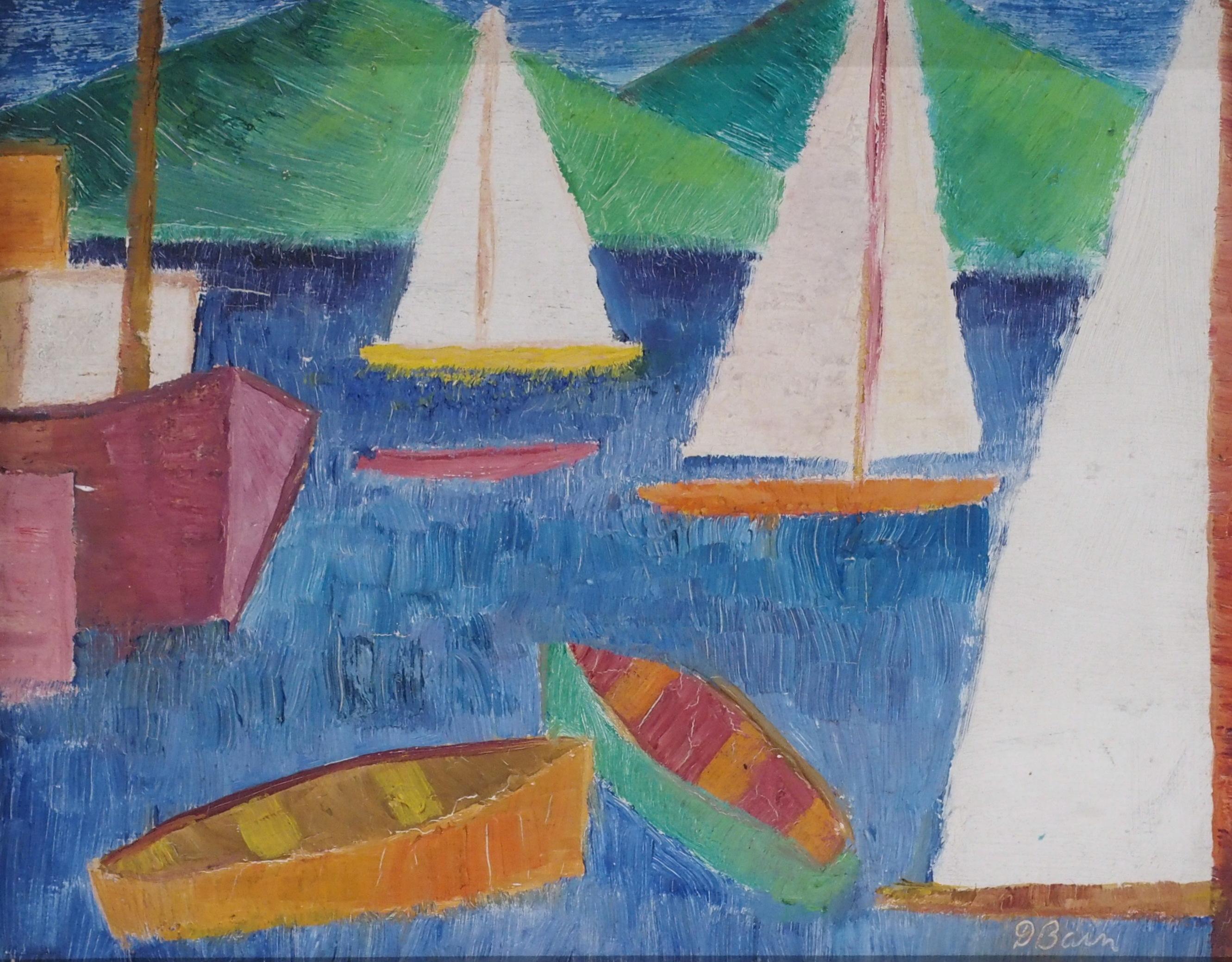 •DONALD BAIN (SCOTTISH 1904-1979) VACANCE DE MER oil on board, signed, 24 x 31cm William Hardie