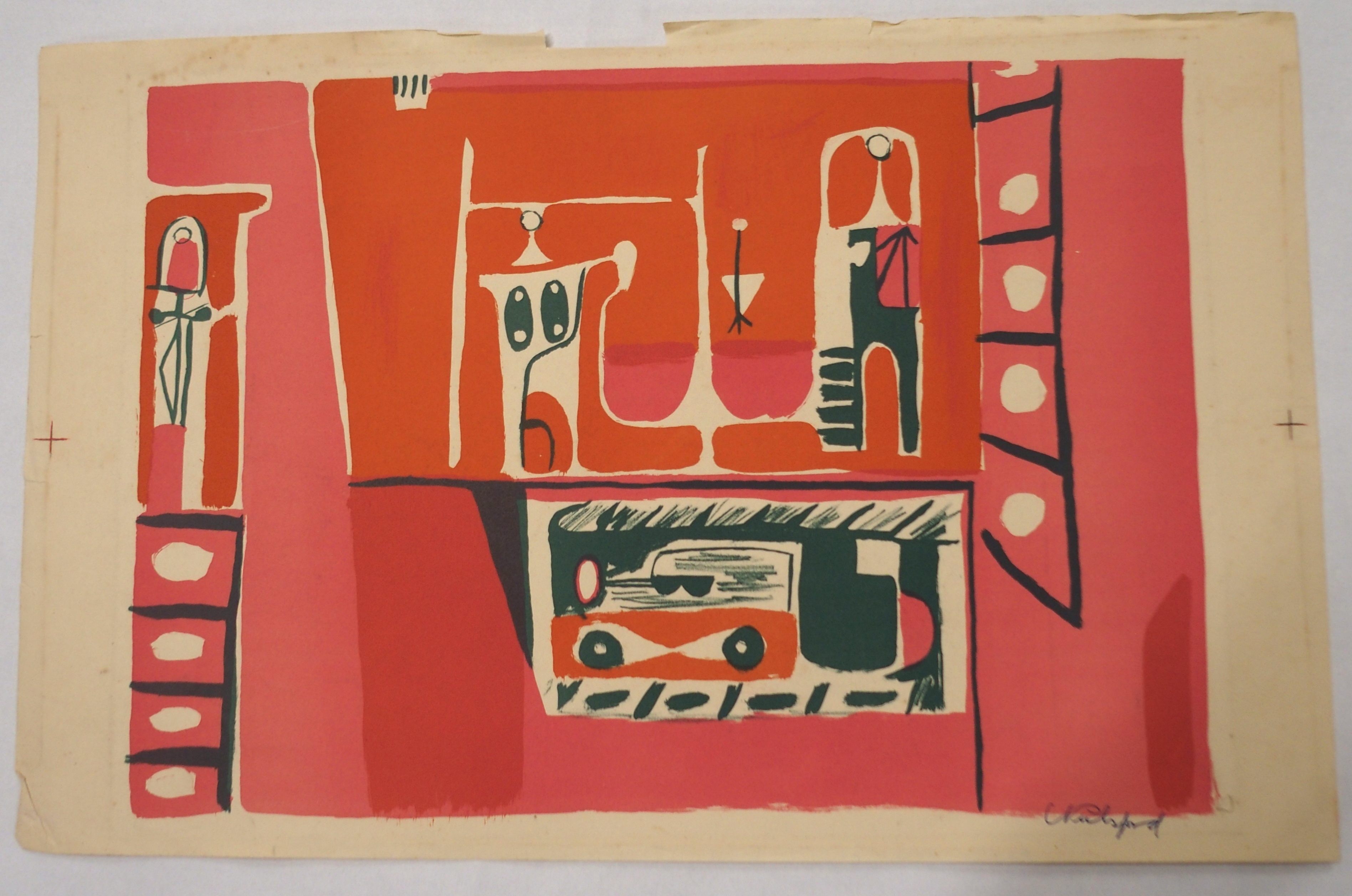 •CHARLES PULSFORD ARSA (SCOTTISH 1912-1989) FIGURES IN AN URBAN LANDSCAPE (1953) Colour lithograph - Image 2 of 3