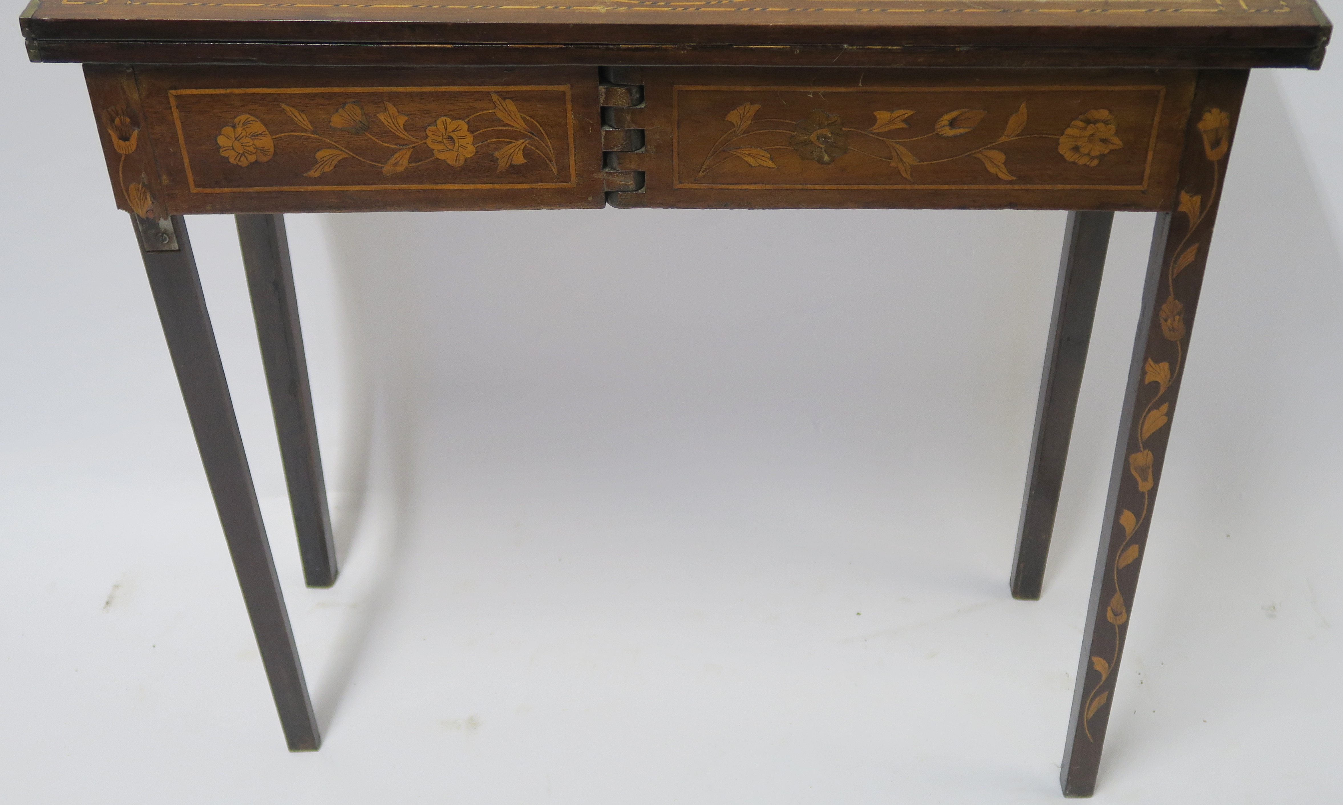 A DUTCH MARQUETRY WALNUT GAMES TABLE decorated with a basket of flowers, birds and scrolling - Image 10 of 11