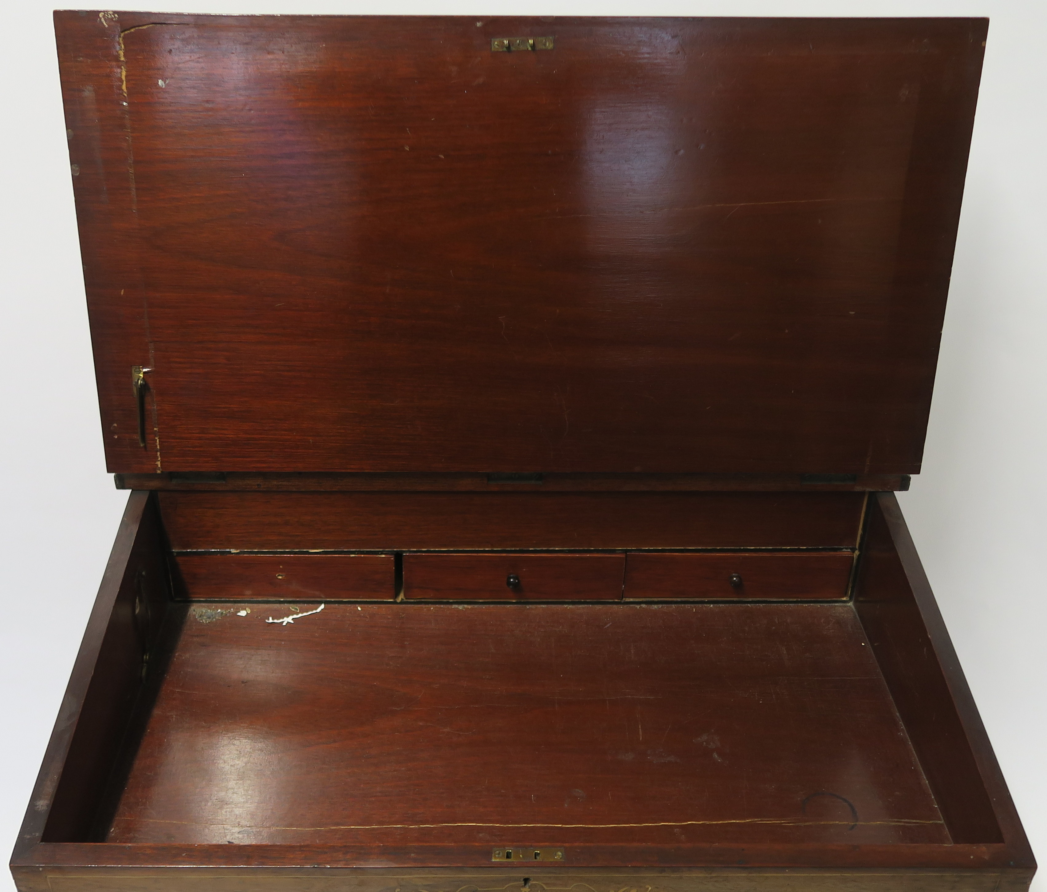 A VICTORIAN INLAID WALNUT DAVENPORT of standard design with four drawers 95cm high, 75cm wide and - Image 5 of 9