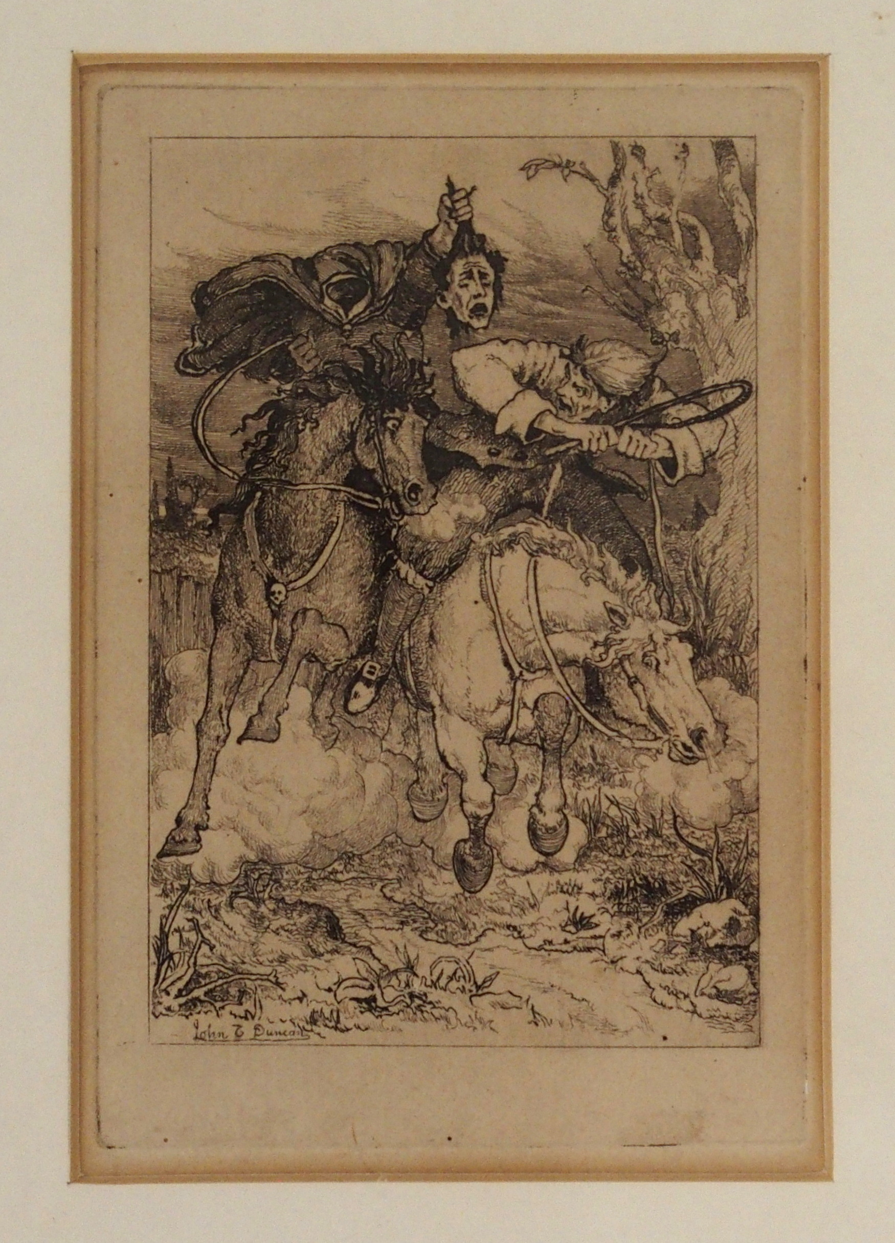 AFTER JOHN DUNCAN THE HEADLESS HORSEMAN engraving, 12 x 8cm, Admiral Viscount Duncan print, three