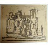 •CHARLES PULSFORD ARSA (SCOTTISH 1912-1989) ABSTRACT FIGURES Monotype, unframed, 45 x 55cm Condition