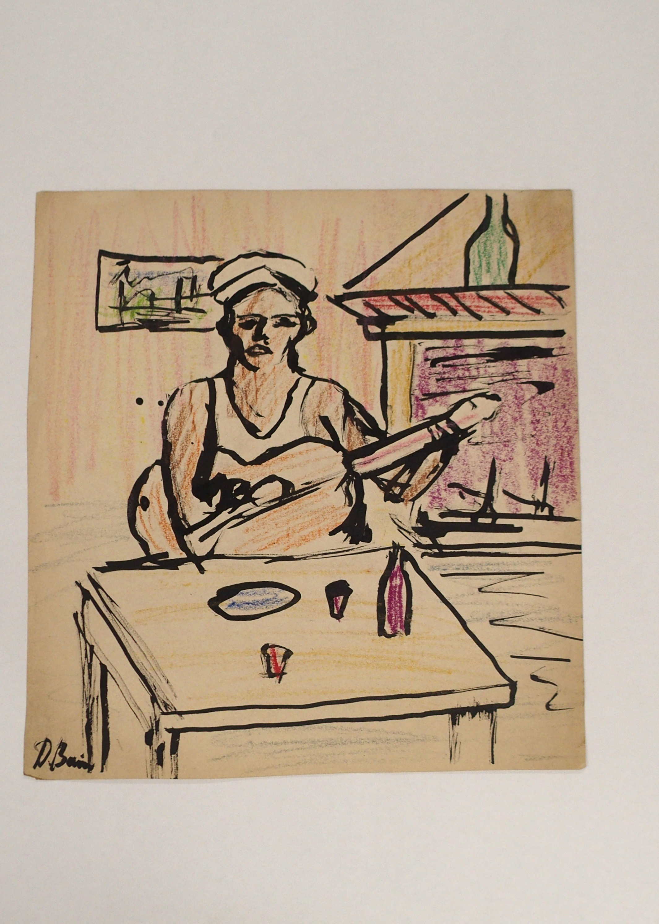 •DONALD BAIN (SCOTTISH 1904-1979) SAILOR WITH GUITAR Ink and coloured wax crayon, signed, 33 x - Image 4 of 4