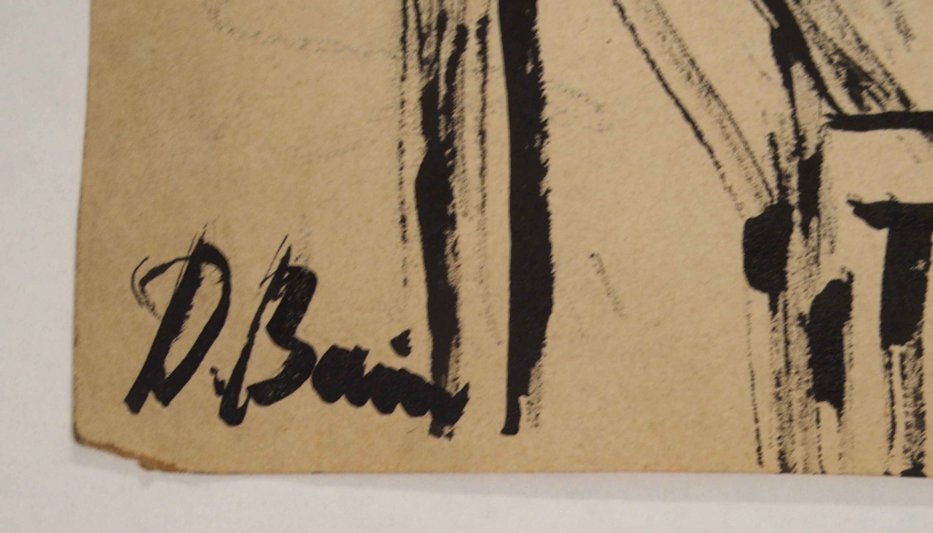 •DONALD BAIN (SCOTTISH 1904-1979) SAILOR WITH GUITAR Ink and coloured wax crayon, signed, 33 x - Image 3 of 4