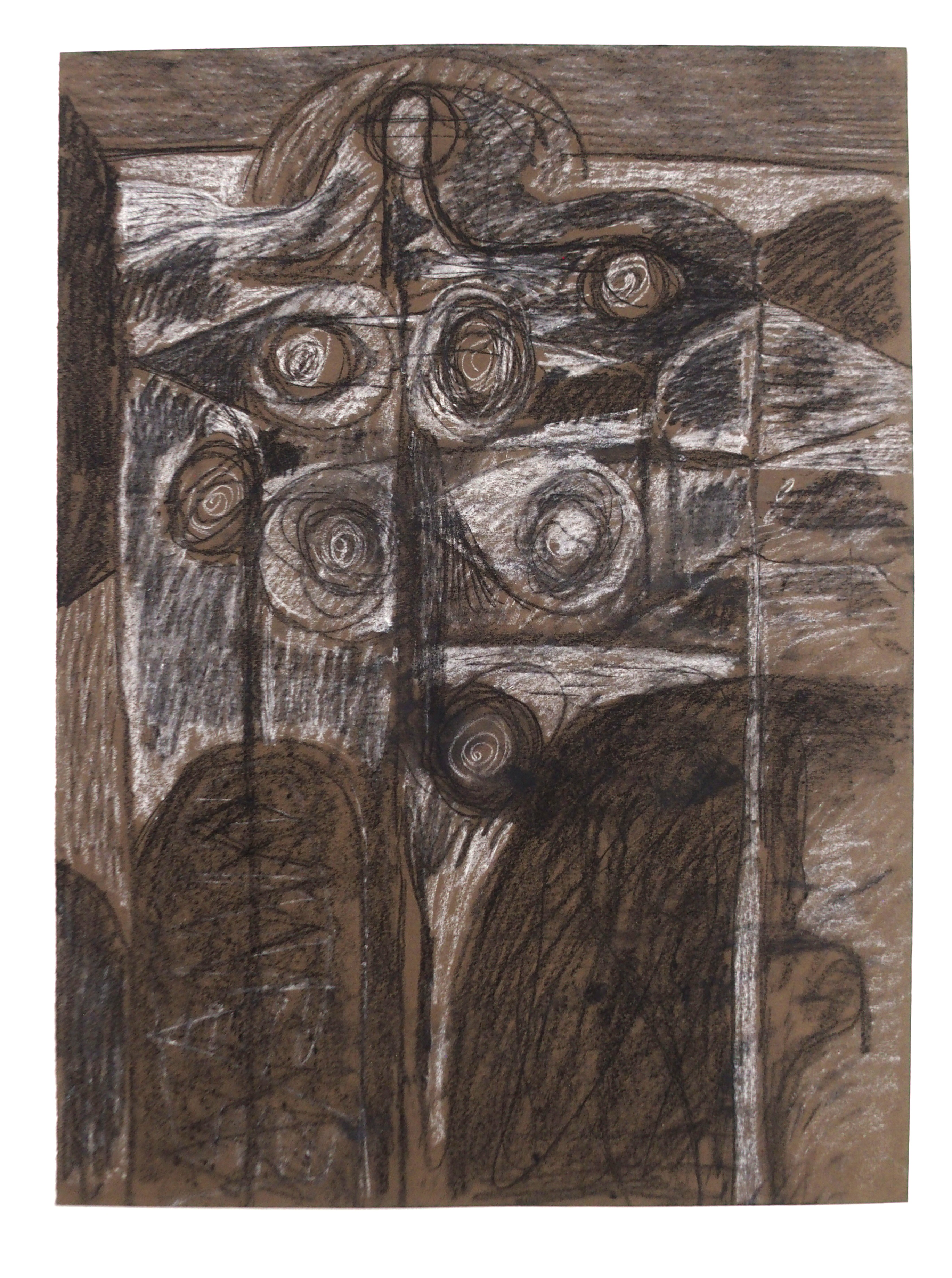 •CHARLES PULSFORD ARSA (SCOTTISH 1912-1989) ABSTRACT FIGURE Chalk and pastel, unframed, 53 x 39cm