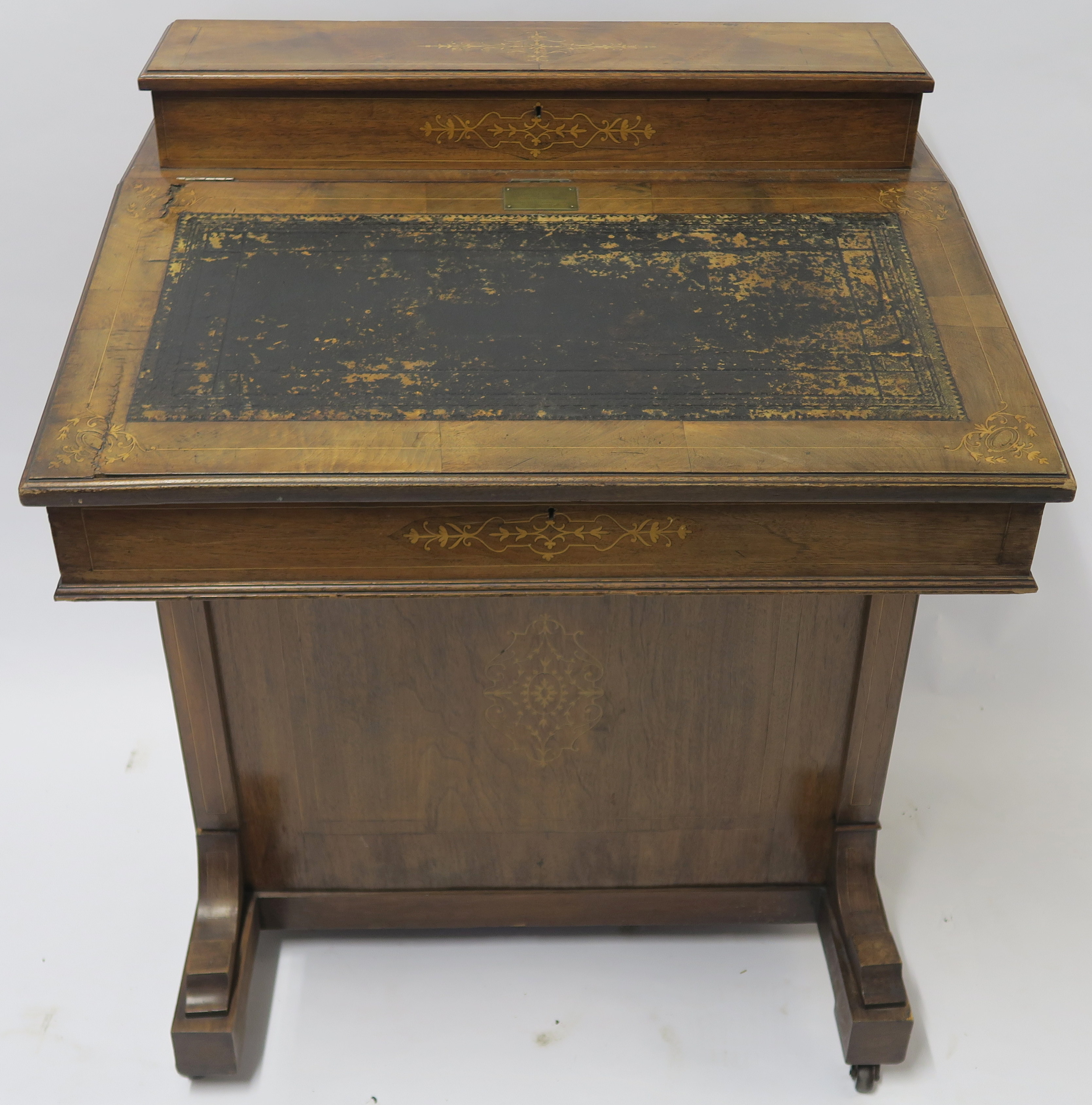 A VICTORIAN INLAID WALNUT DAVENPORT of standard design with four drawers 95cm high, 75cm wide and - Image 2 of 9