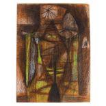 •CHARLES PULSFORD ARSA (SCOTTISH 1912-1989) ABSTRACT DESIGN Chalk and pastel, unframed, 53 x 39cm