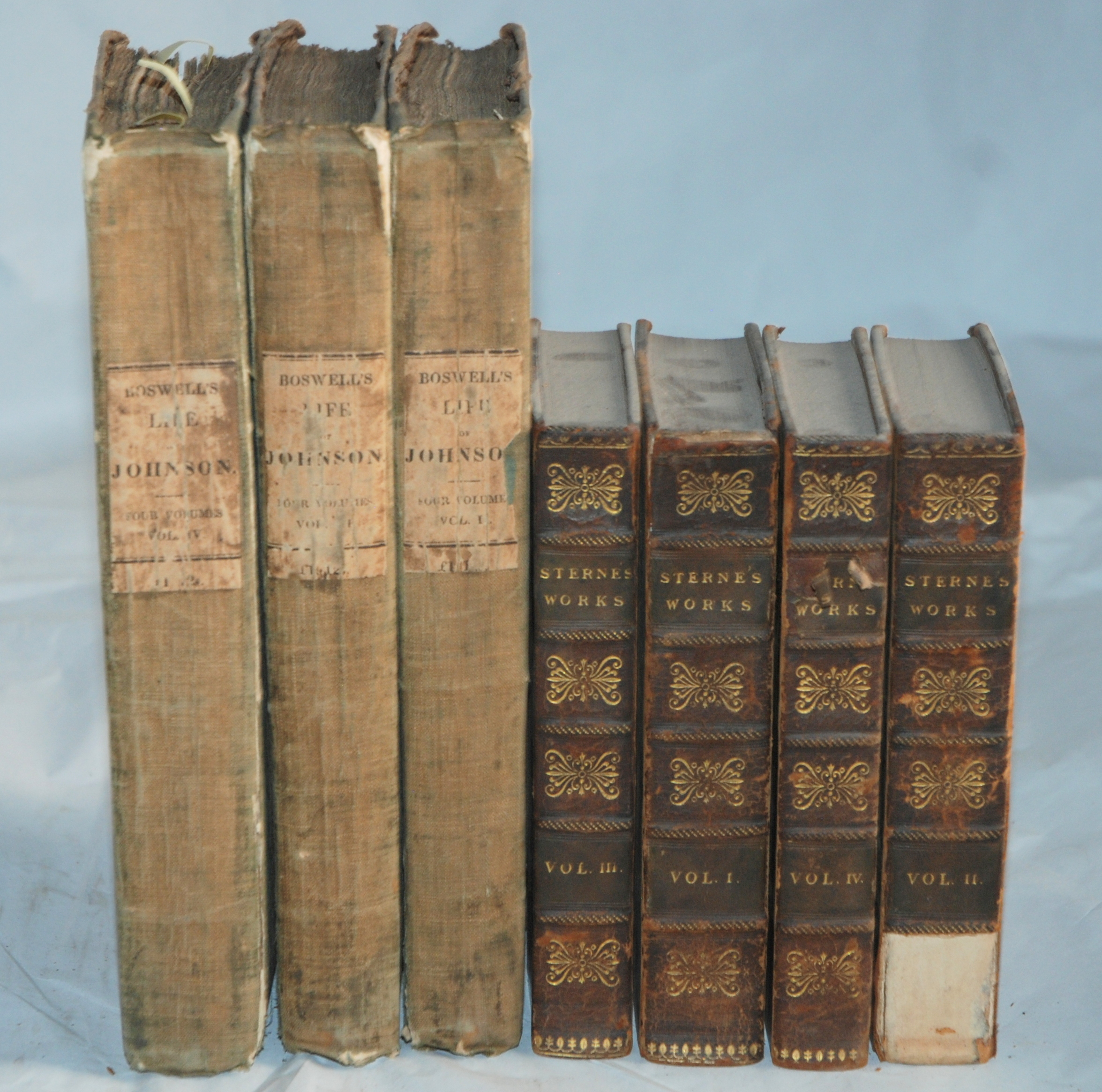 BOSWELLS LIFE OF JOHNSON 3 vols, London, 1824, The works of Henry Fielding, 9 vols, Laurence Sterna,