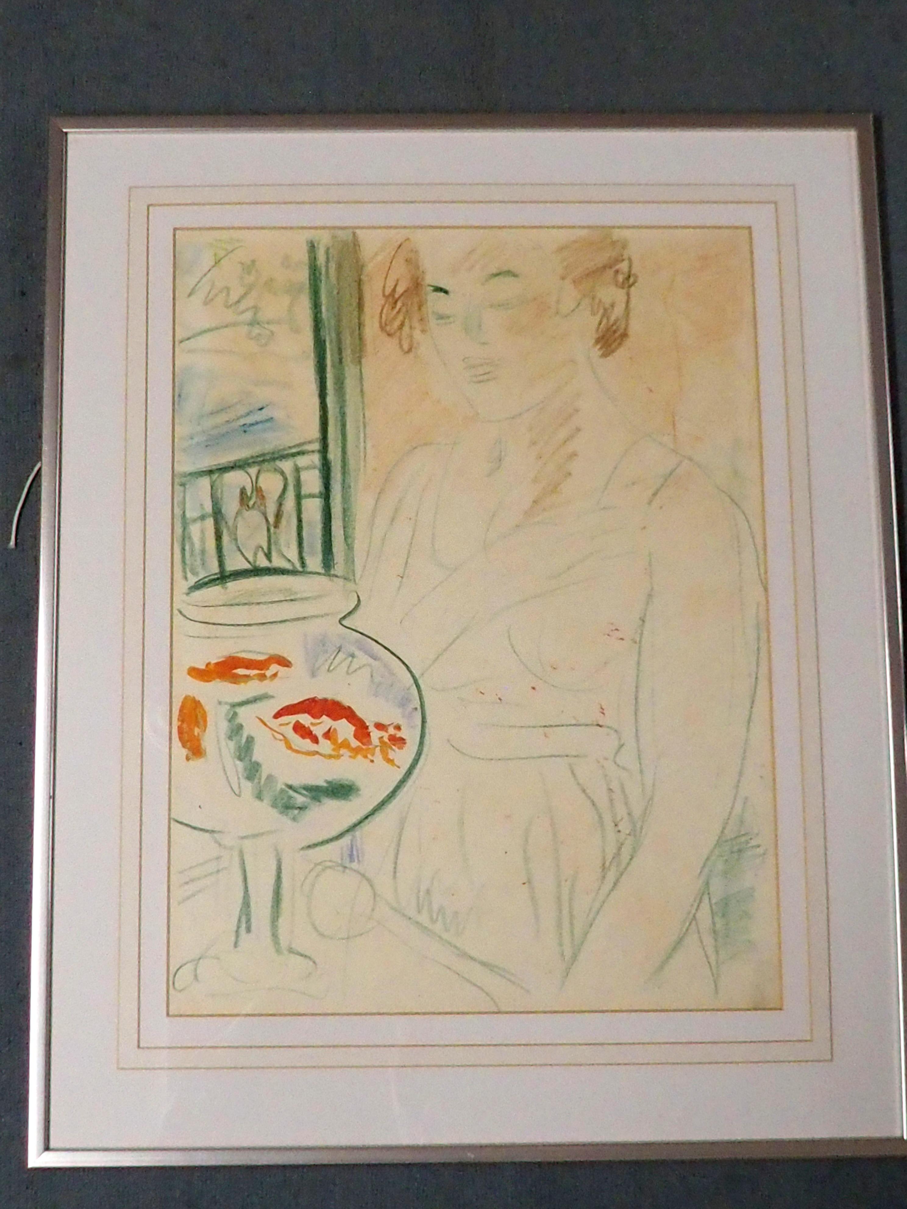 GEORGE LESLIE HUNTER (SCOTTISH 1877-1931) THE GOLDFISH BOWL colour crayon, 58 x 43cm William - Image 2 of 3