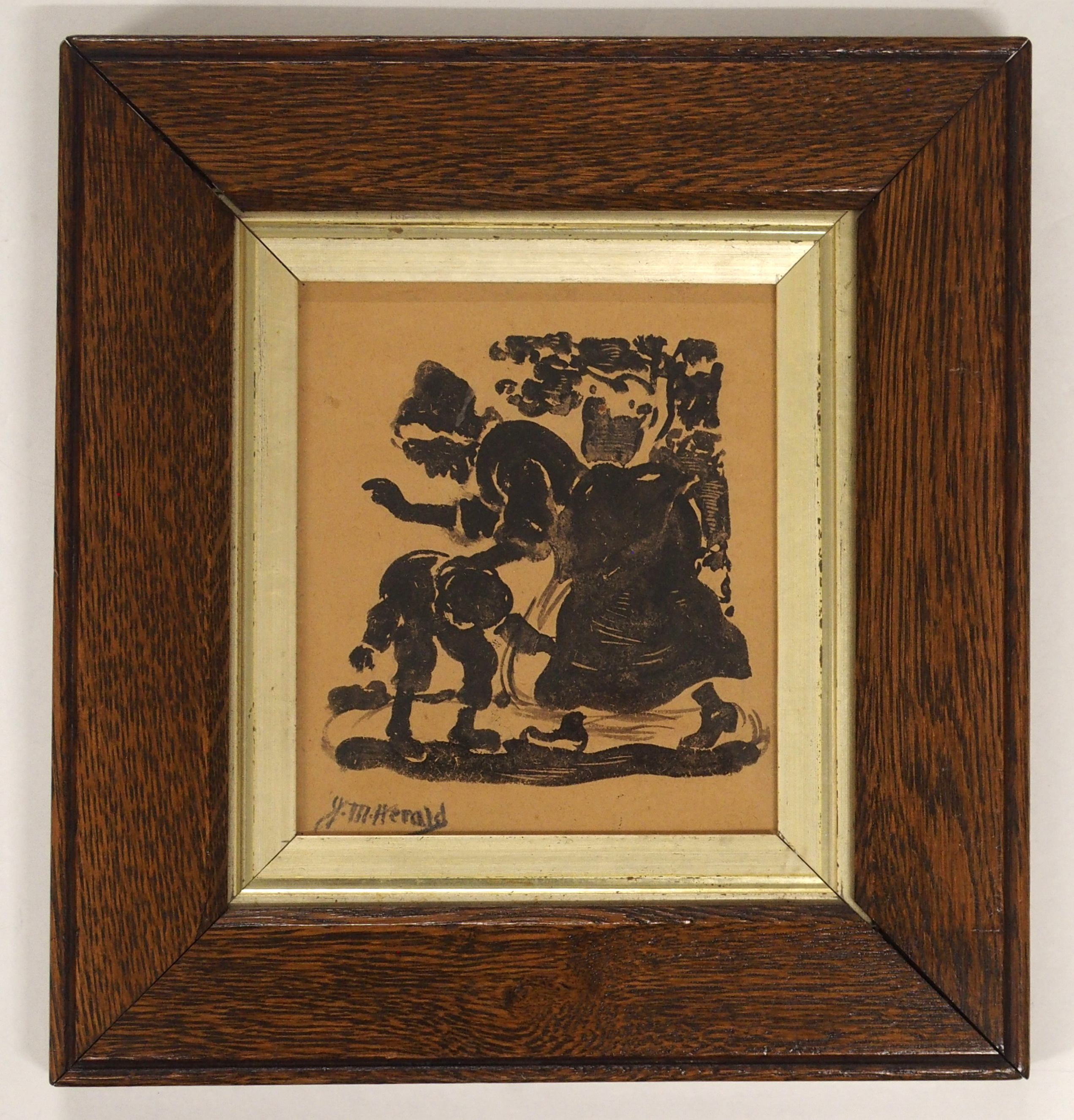 JAMES WATTERSTON HERALD (SCOTTISH 1859-1914) A NAUGHTY BOY Pen and ink drawing, signed, 15 x 13cm - Image 2 of 5