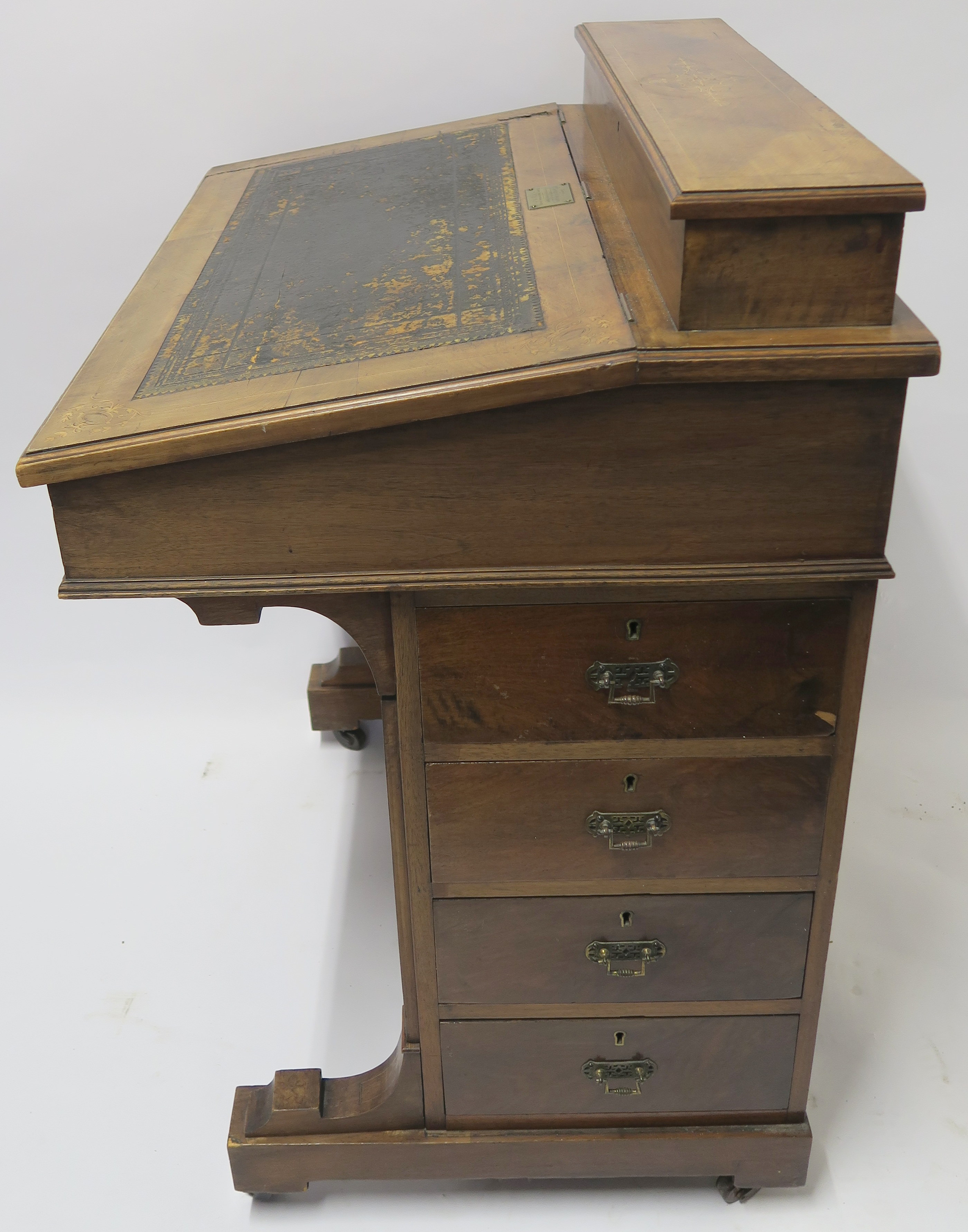 A VICTORIAN INLAID WALNUT DAVENPORT of standard design with four drawers 95cm high, 75cm wide and - Image 8 of 9
