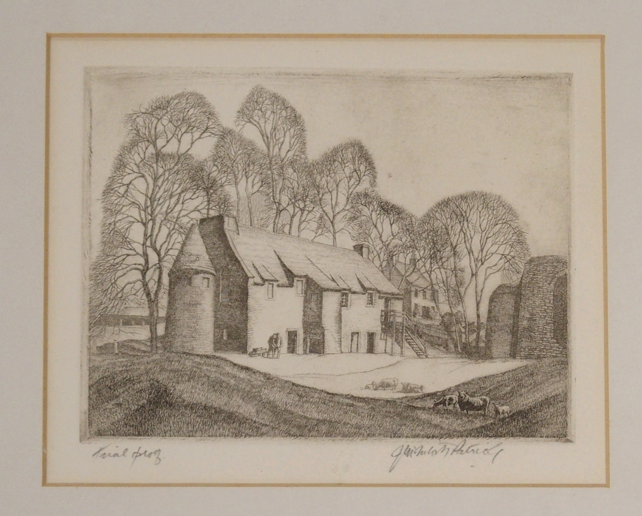 •JAMES MCINTOSH PATRICK OBE, RSA (SCOTTISH 1907-1998) FIGURES BEFORE COUNTRY HOUSE etching,
