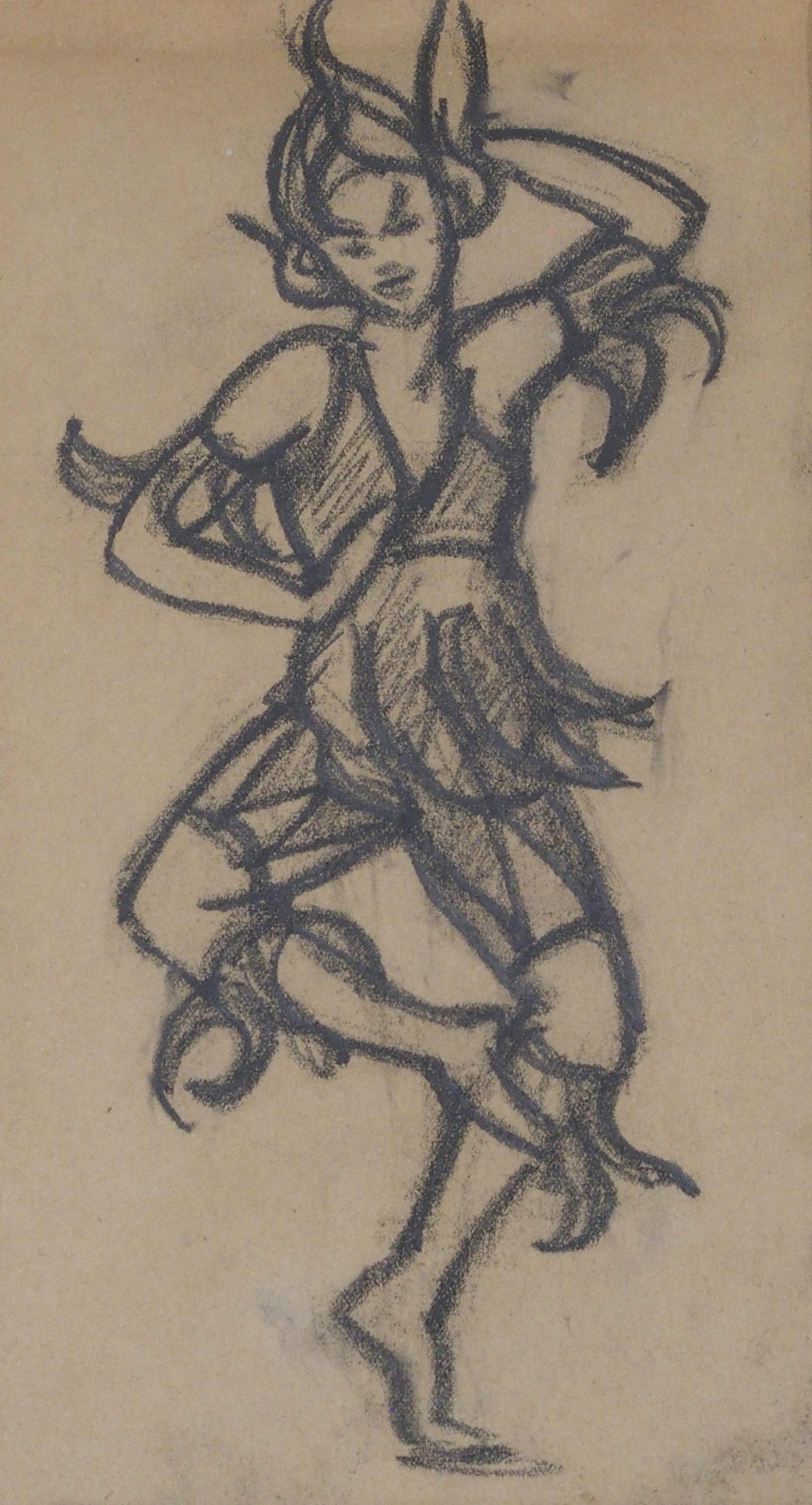 •MARGARET MORRIS (SCOTTISH 1891-1980) COSTUME DESIGN FOR ASHNUR DANCERS 1937 charcoal, 22 x 12cm