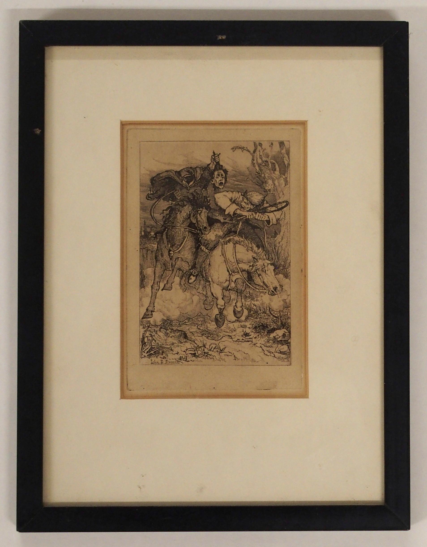 AFTER JOHN DUNCAN THE HEADLESS HORSEMAN engraving, 12 x 8cm, Admiral Viscount Duncan print, three - Image 6 of 12