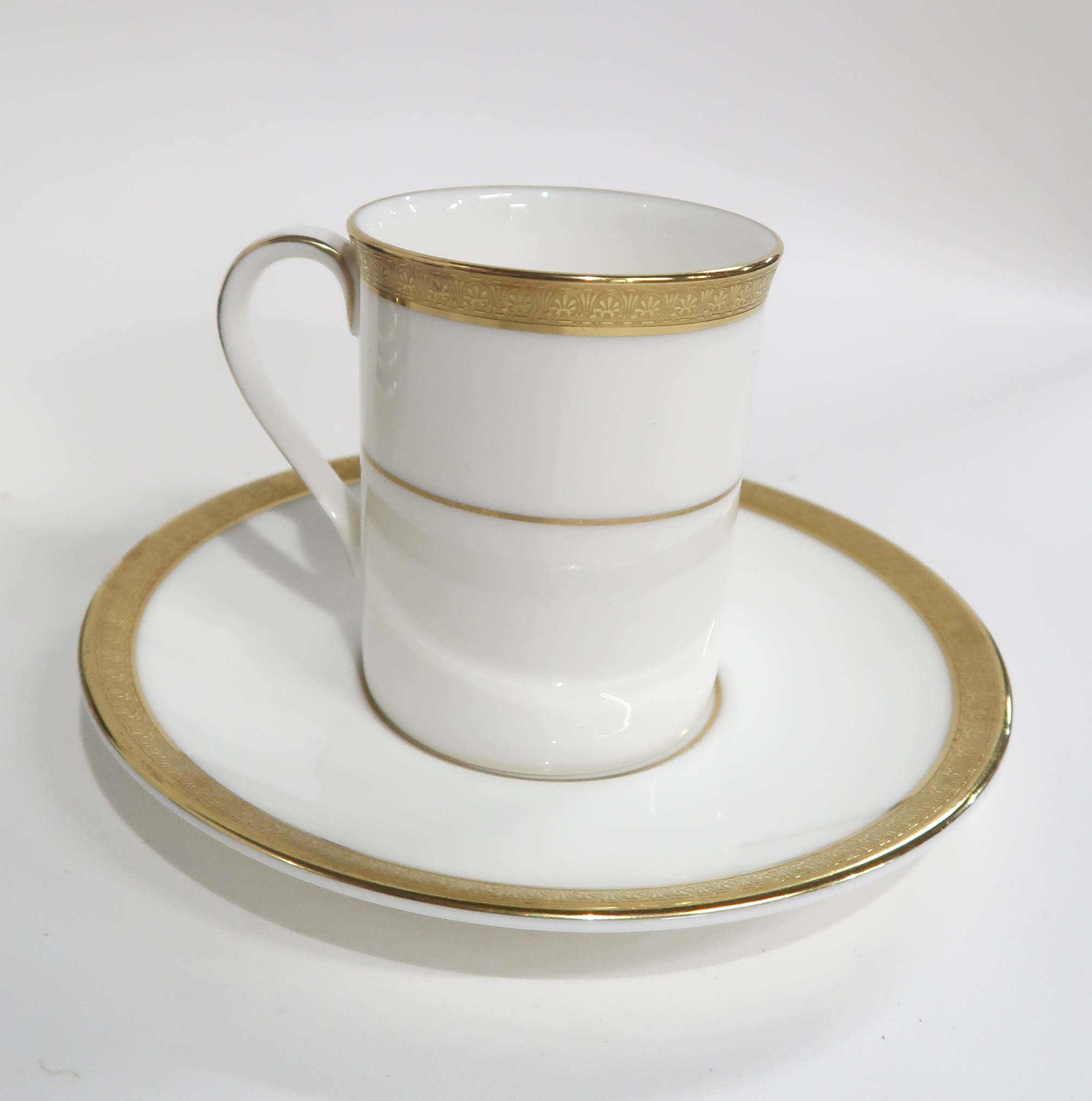 SIX CROWN DEVON DARK BLUE AND GILT COFFEE CUPS AND SAUCERS together with seven Royal Doulton Royal - Image 3 of 3