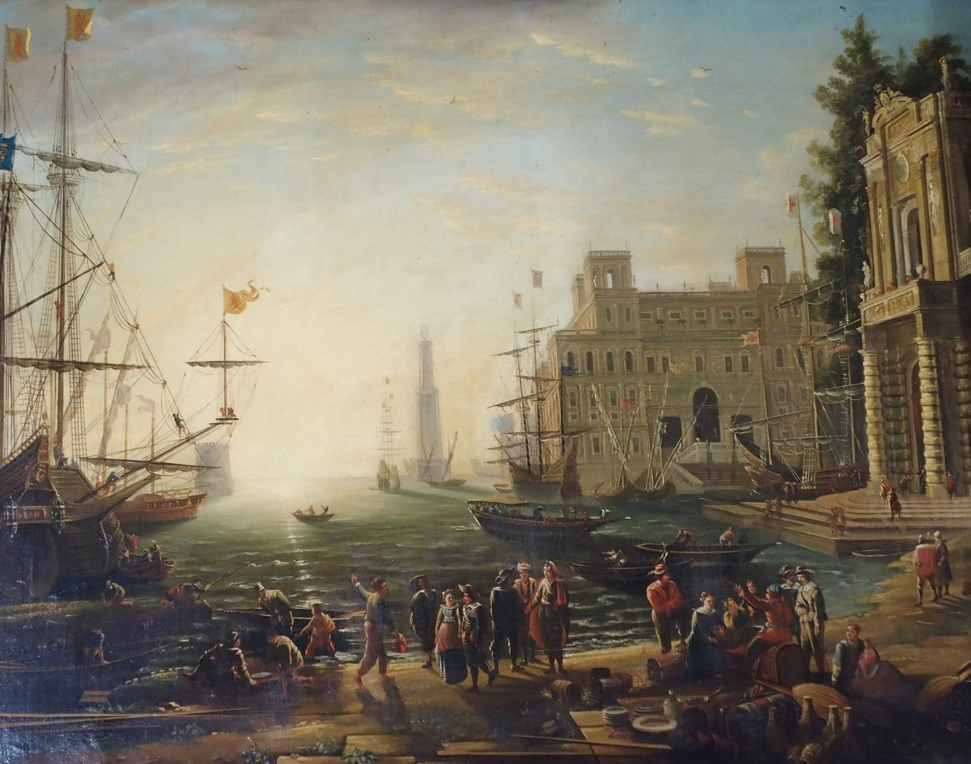 AFTER CLAUDE LORRAINE THE ARRIVAL AT TARSUS oil on canvas, 57 x 73cm The canvas signed Walter