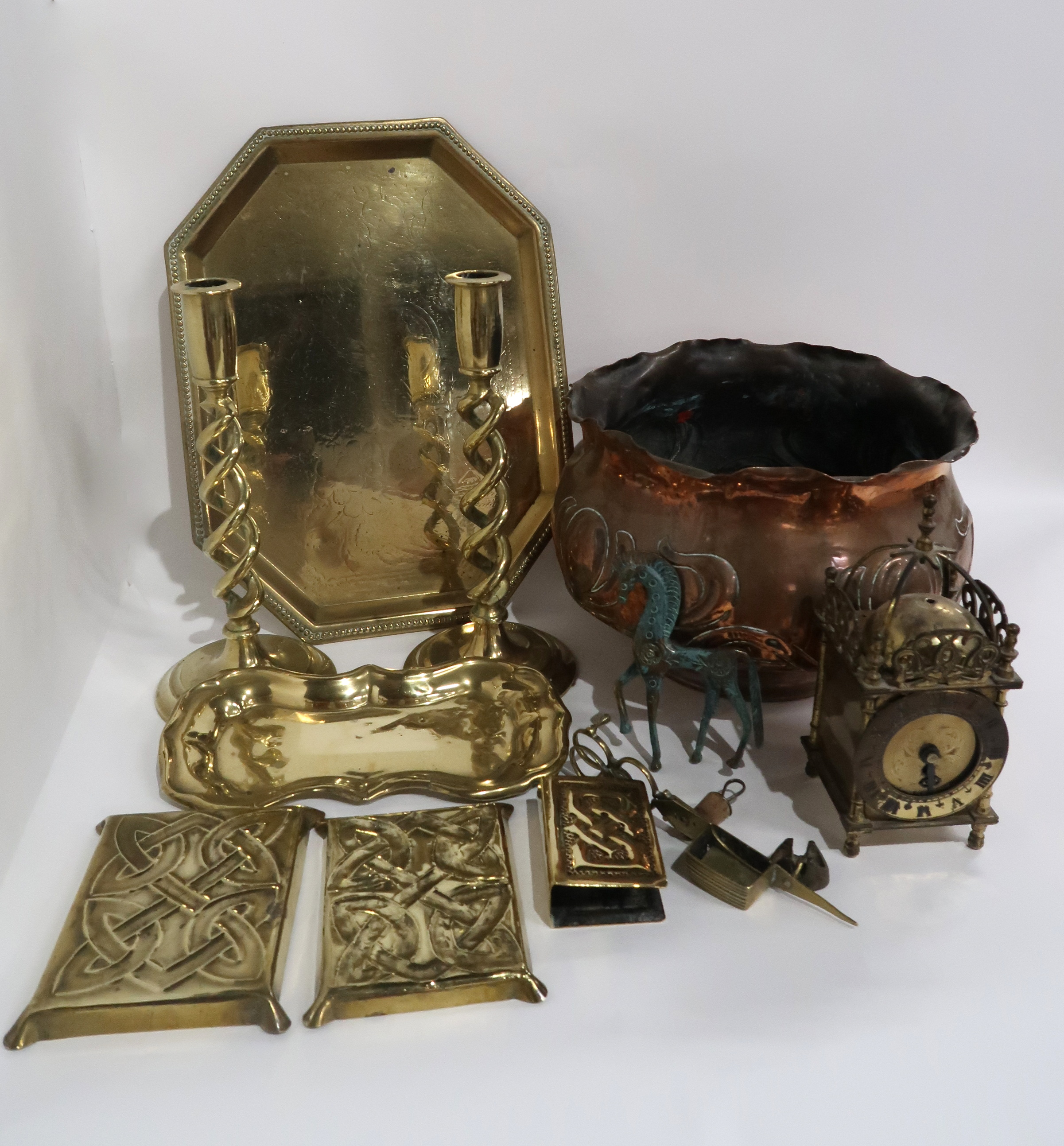 A WILLIAM SOUTTER AND SONS COPPER JARDINIERE two brass celtic knotwork trinket dishes, a similar