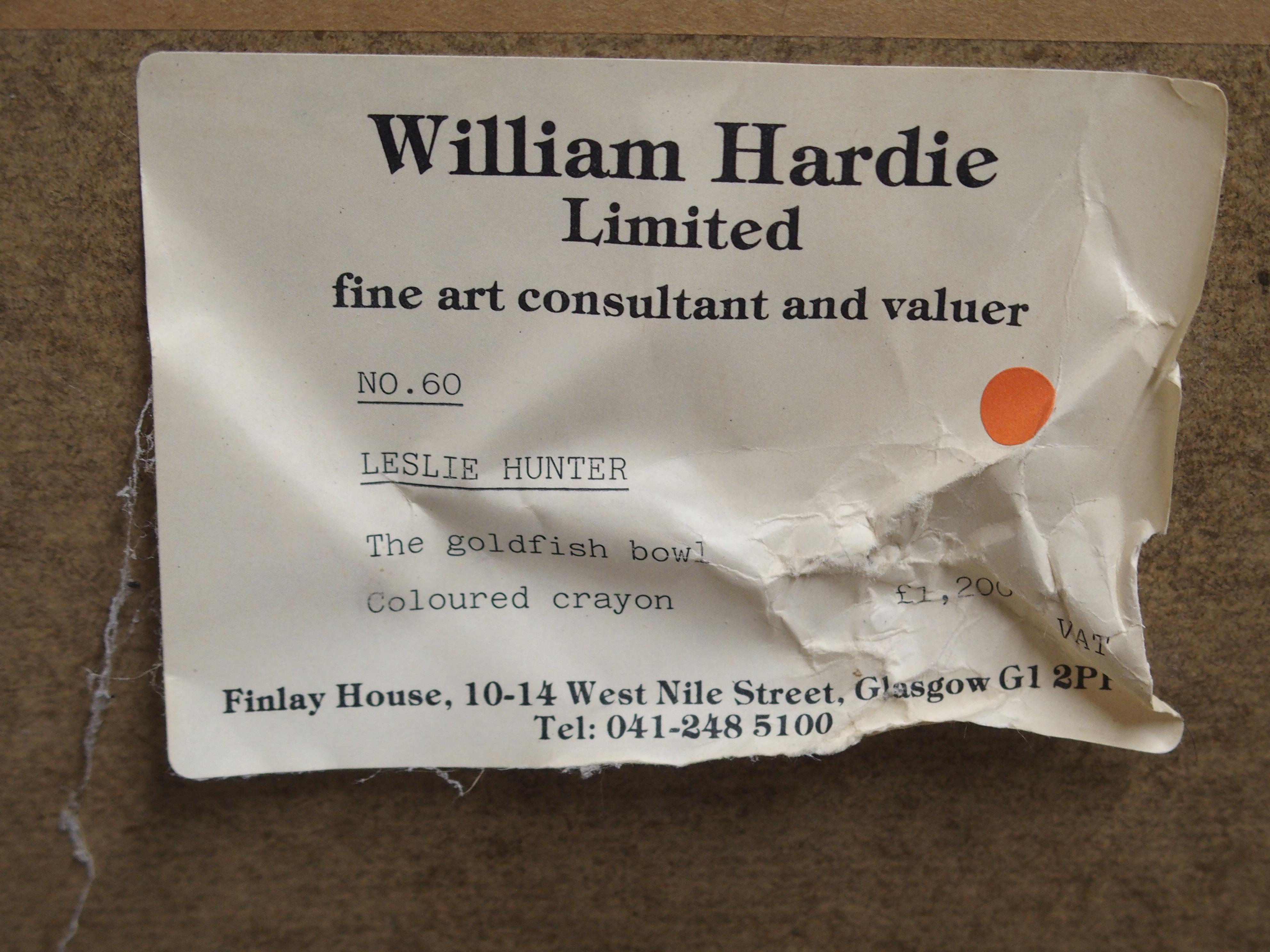 GEORGE LESLIE HUNTER (SCOTTISH 1877-1931) THE GOLDFISH BOWL colour crayon, 58 x 43cm William - Image 3 of 3
